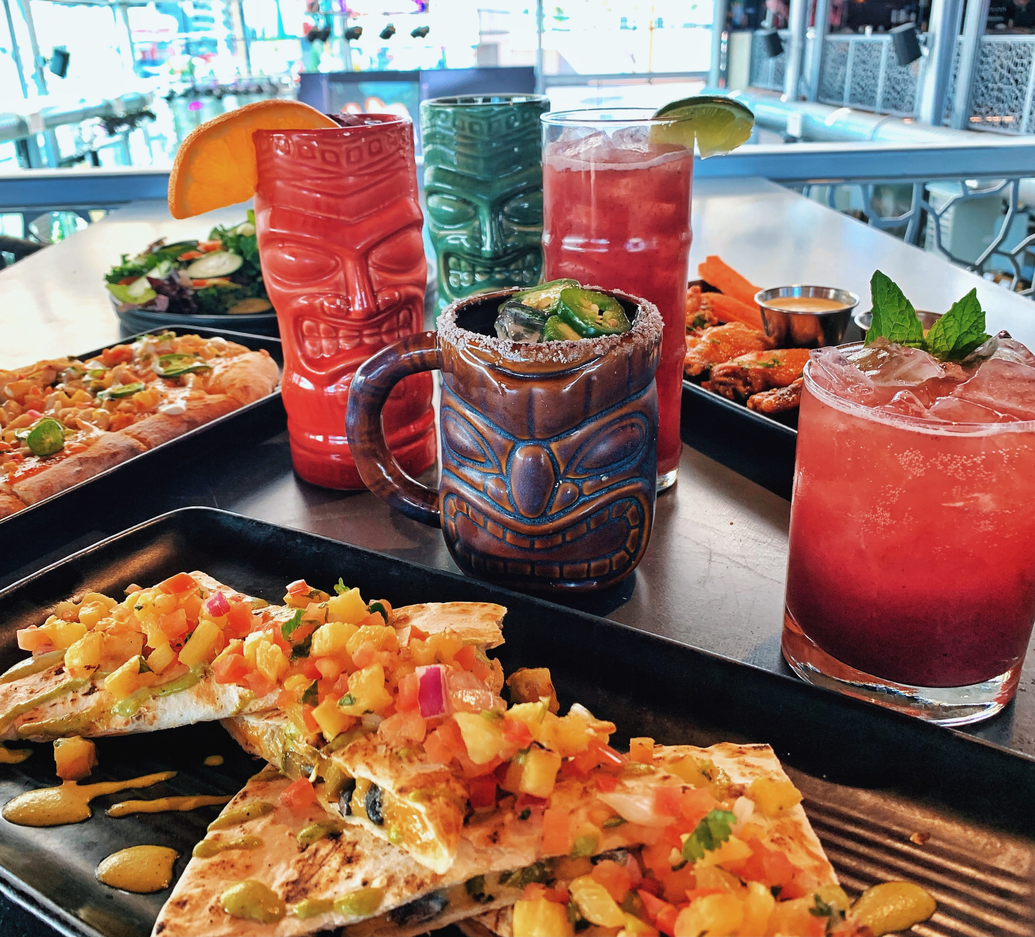 Tiki cocktails and a quesadilla