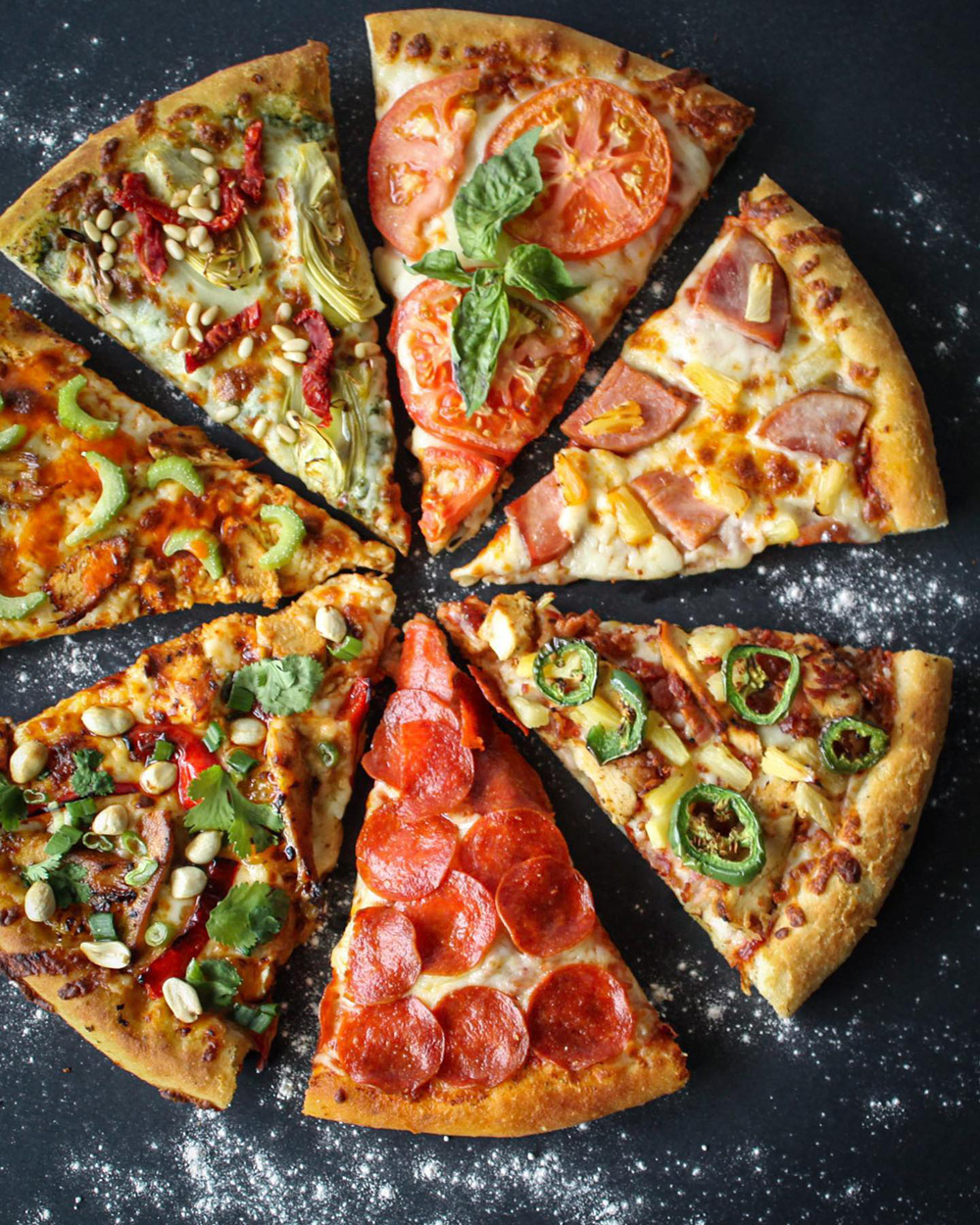 A sampler of the toppings and pizza options available at the MacKenzie River Pizza, Grill and Pub.