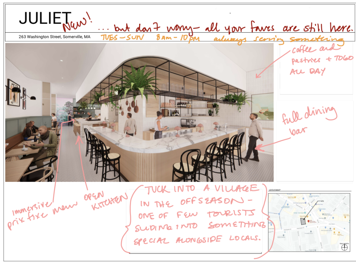 A rendering of a restaurant is covered with hand-written notes pointing out various aspects of the space. With light colors, greenery, and a spacious bar running the length of the restaurant, it has a casual bistro vibe.