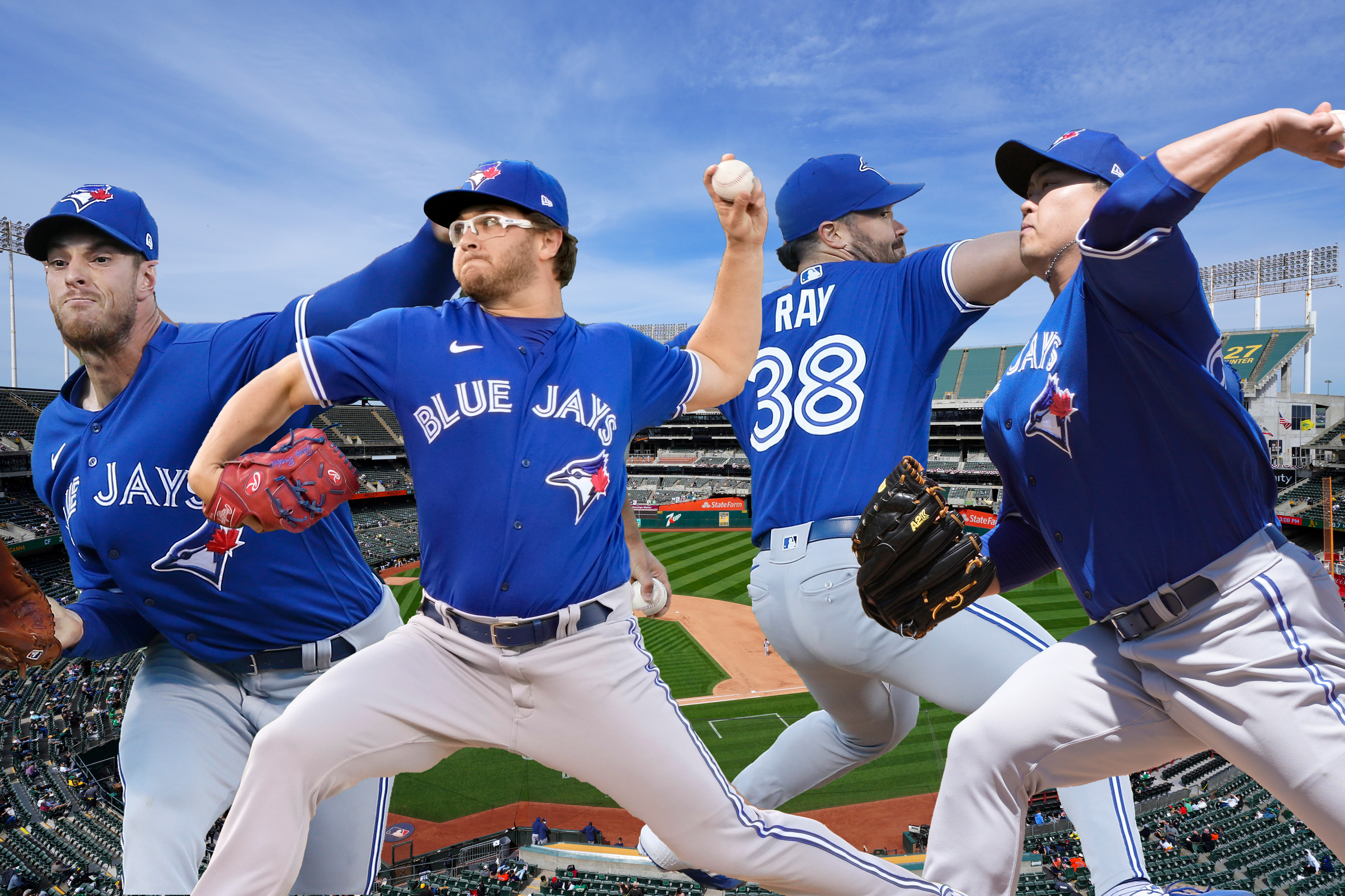Composite photo of pitchers Steven Matz, Anthony Kay, Robbie Ray, and Hyun Jin Ryu of the Toronto Blue Jays