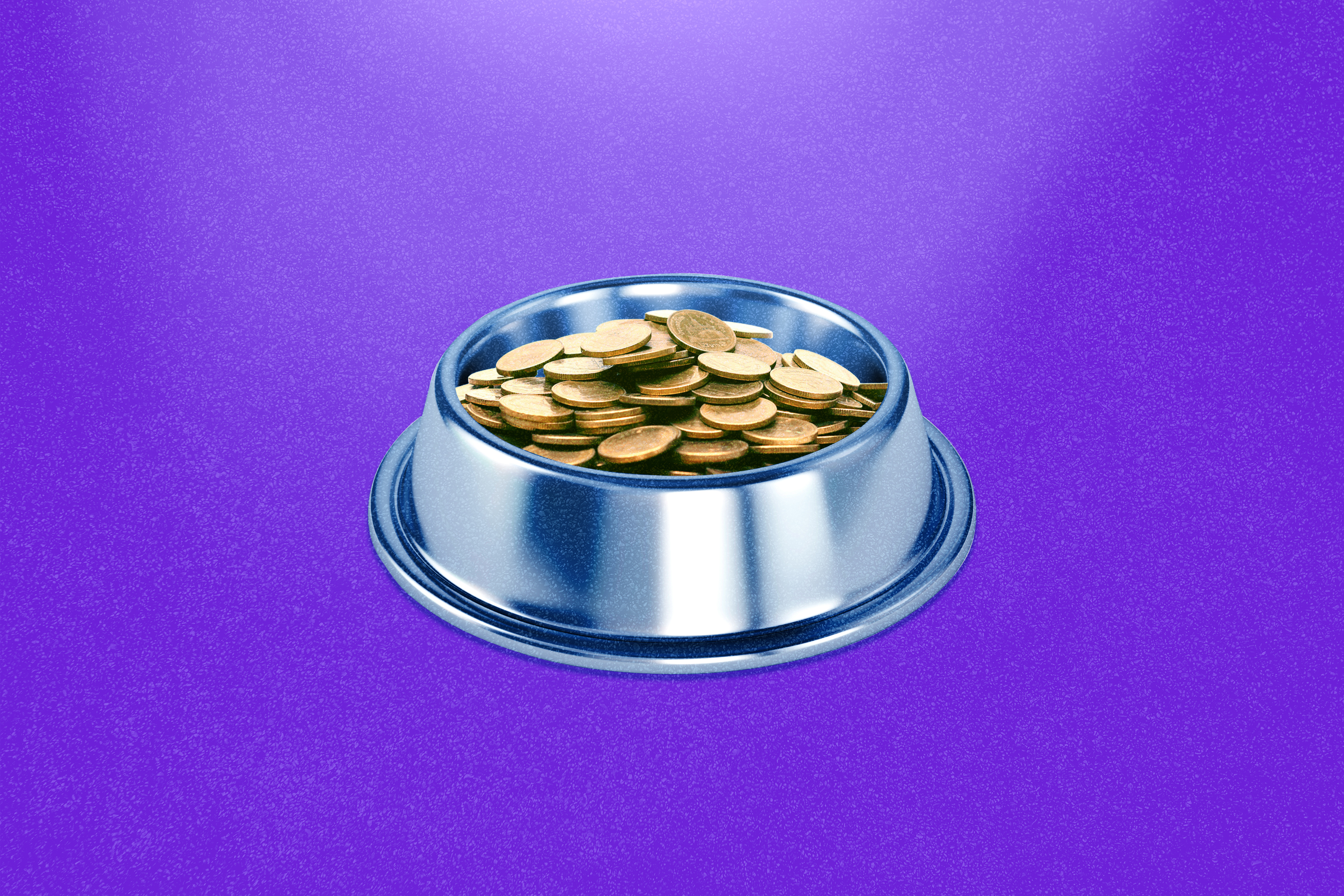 An illustration of a dog bowl with coins in it, a hint at Dogecoin. Dogecoin might reach $1. Or, it might leave investors with empty pockets.