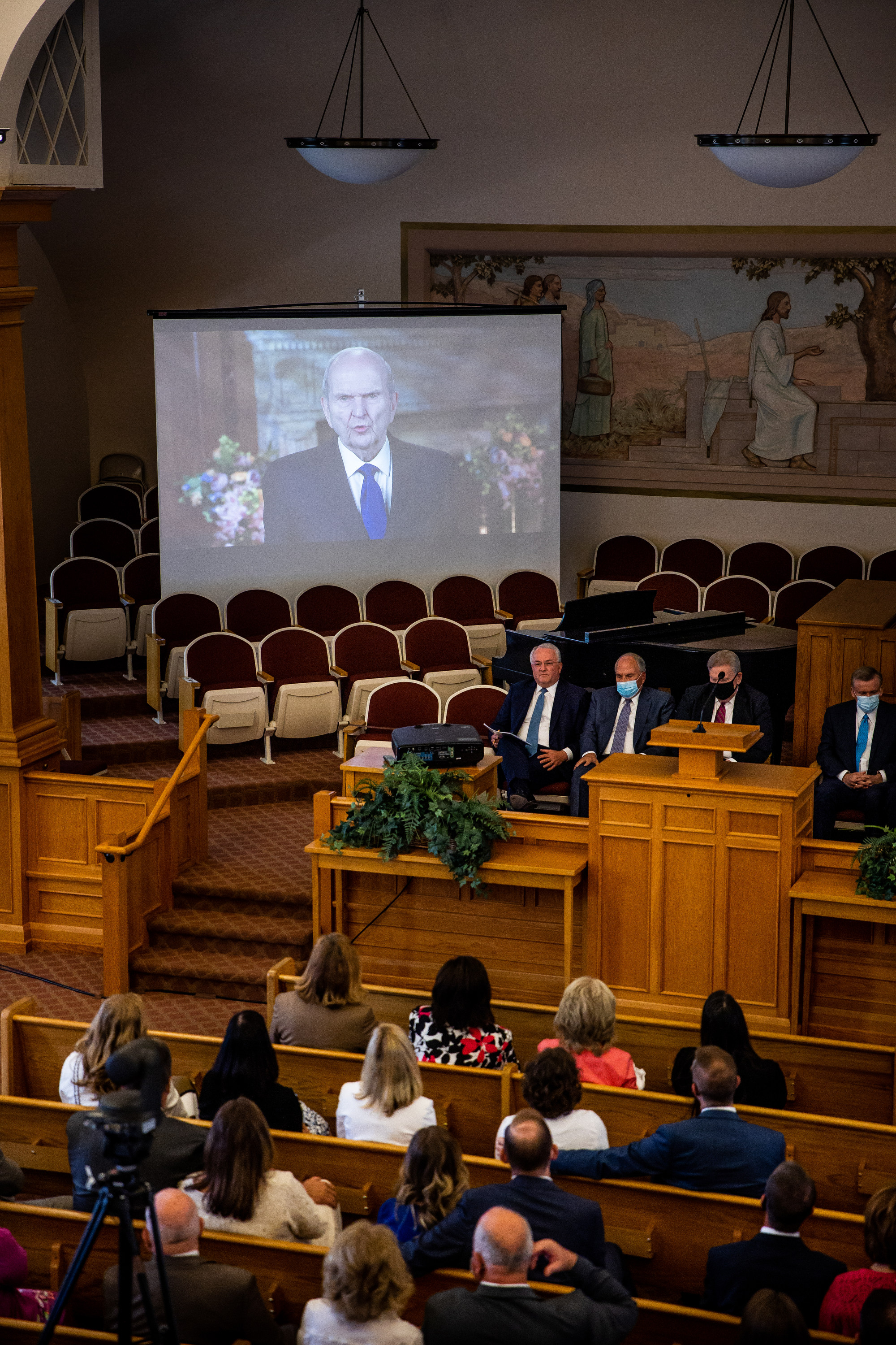 President Russell M. Nelson of The Church of Jesus Christ of Latter-day Saints is pictured on a video screen at the Manti Tabernacle in Manti on Saturday, May 1, 2021.