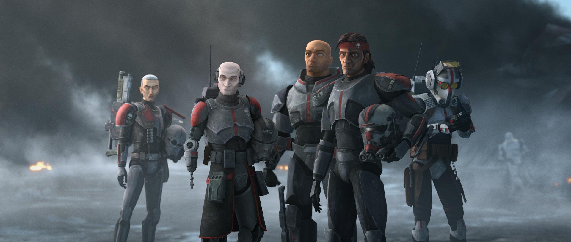 "Crosshair, Echo, Wrecker, Hunter and Tech in ""Star Wars: The Bad Batch."""