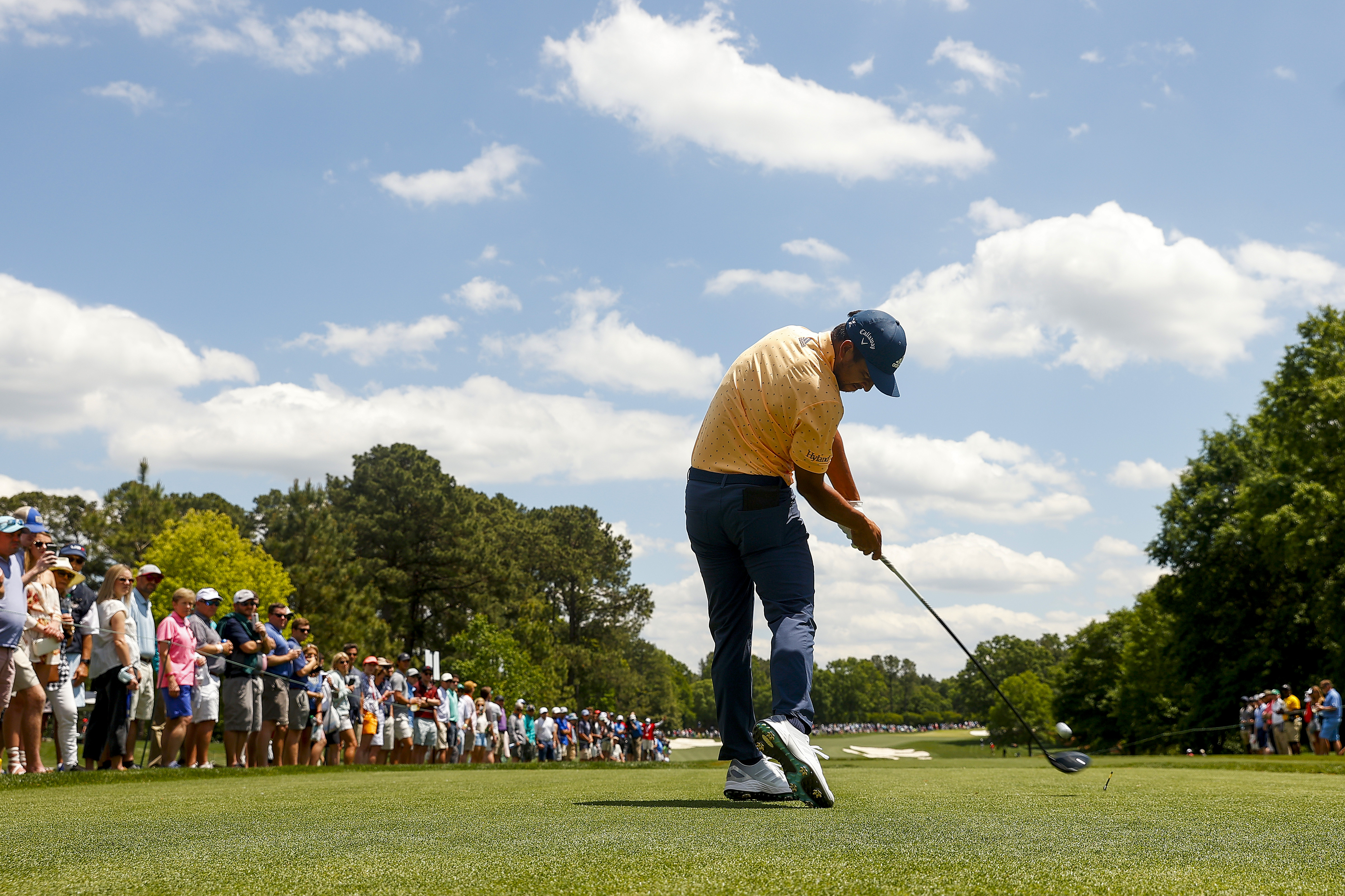 Xander Schauffele of the United States plays his shot from the fifth tee during the first round of the 2021 Wells Fargo Championship at Quail Hollow Club on May 06, 2021 in Charlotte, North Carolina.