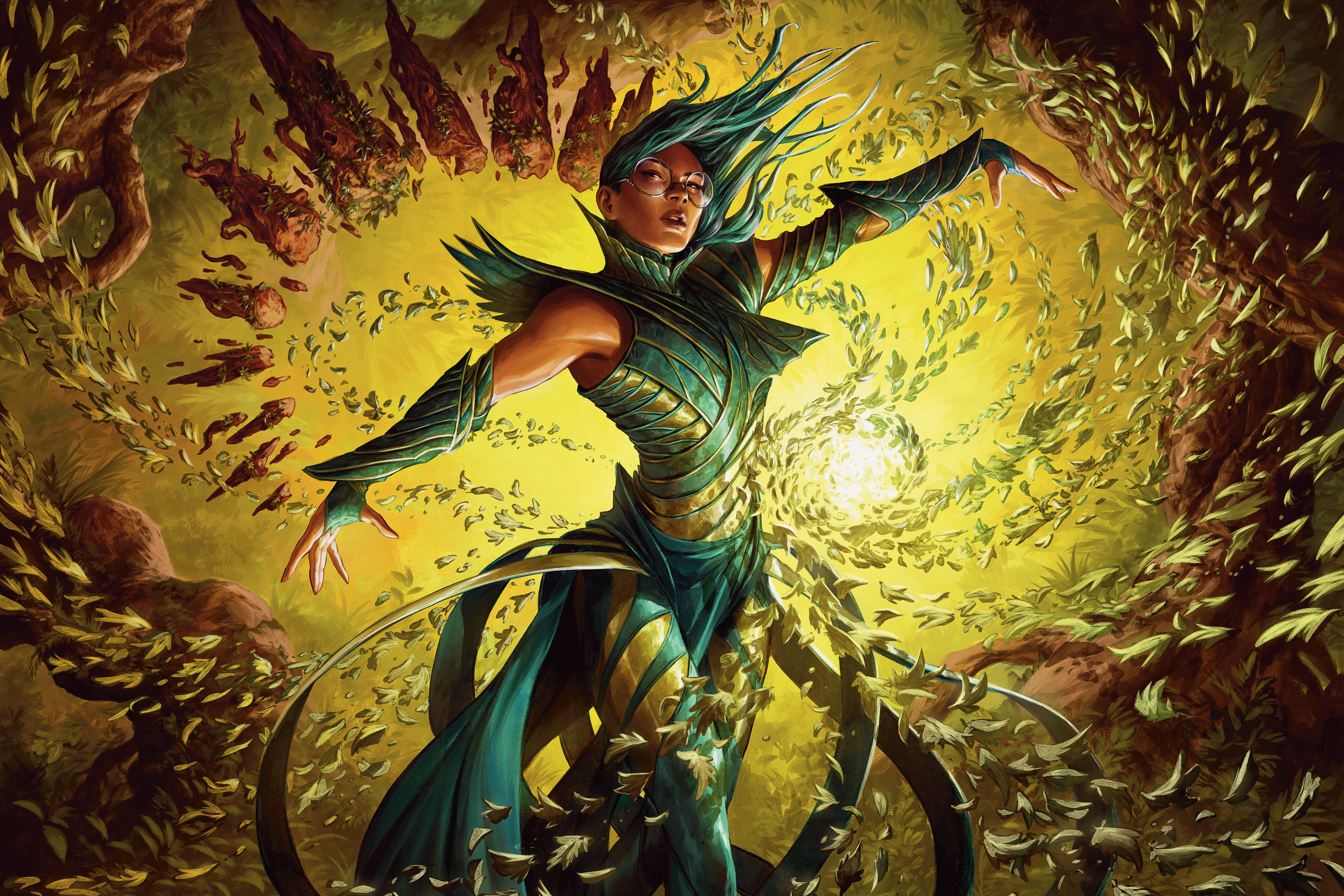 An armored woman stands inside a vortex or yellow stone shards.