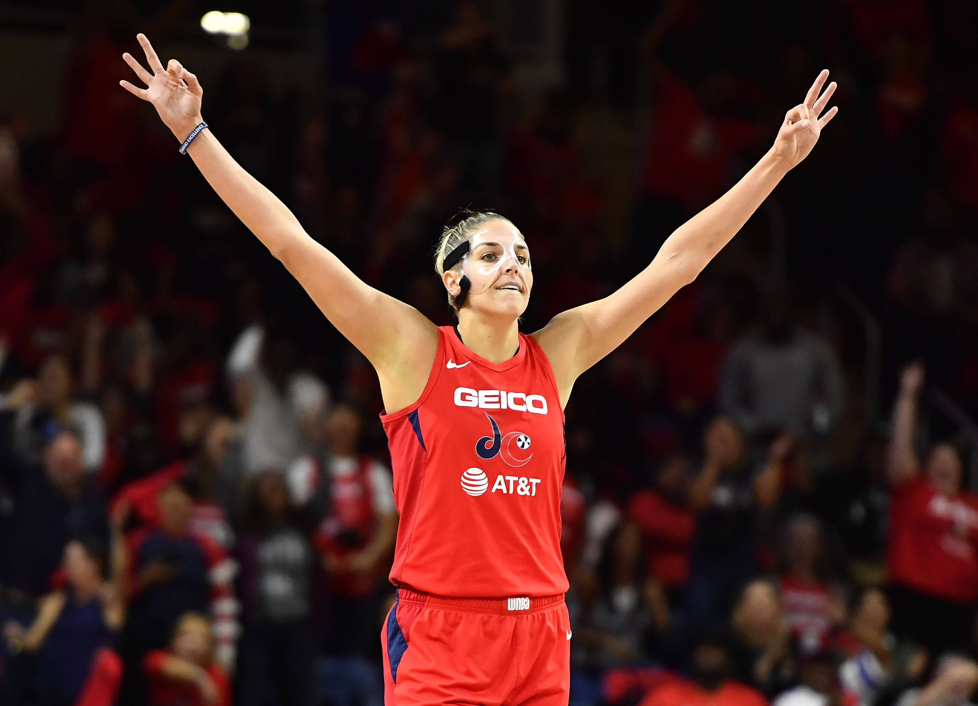 Elena Delle Donne poses after her teammates made a three during the 2019 WNBA Finals between the Washington Mystics and the Connecticut Sun.