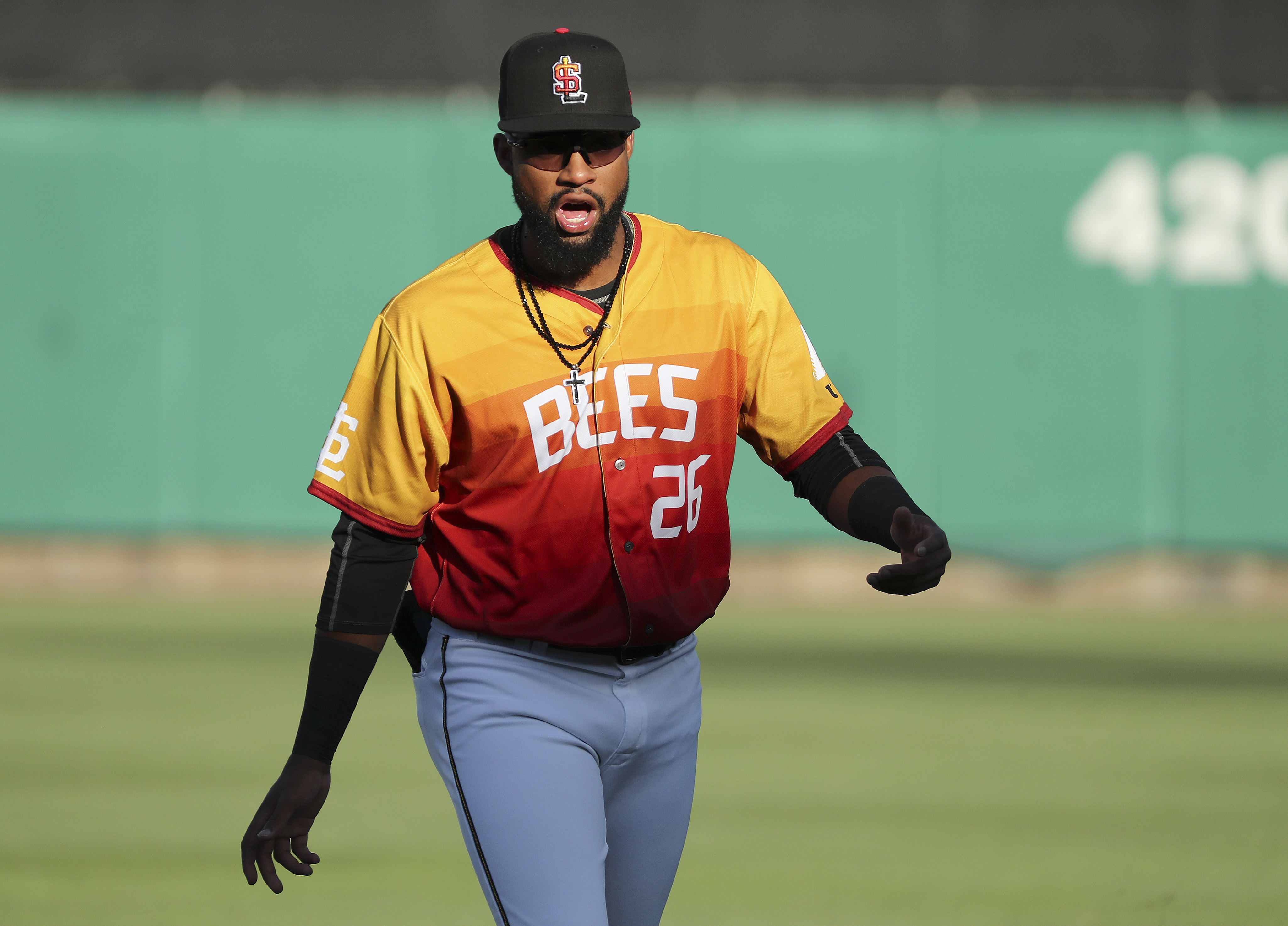 FILE —Jo Adell, the Angels' top prospect, makes his Triple-A debut with the Salt Lake Bees in Salt Lake City on Thursday, Aug. 1, 2019.