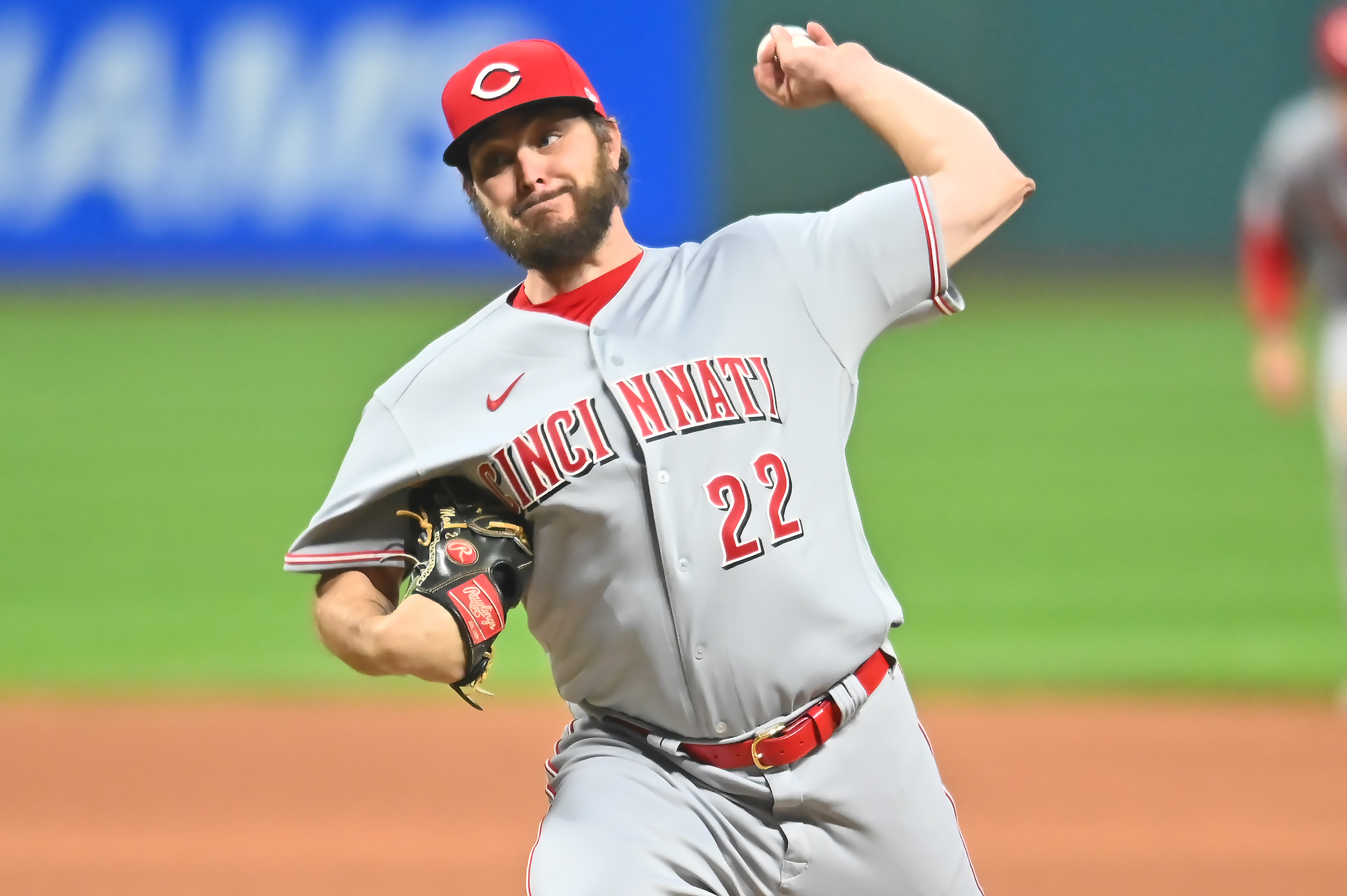 Cincinnati Reds starting pitcher Wade Miley (22) throws a pitch during the first inning against the Cleveland Indians at Progressive Field.