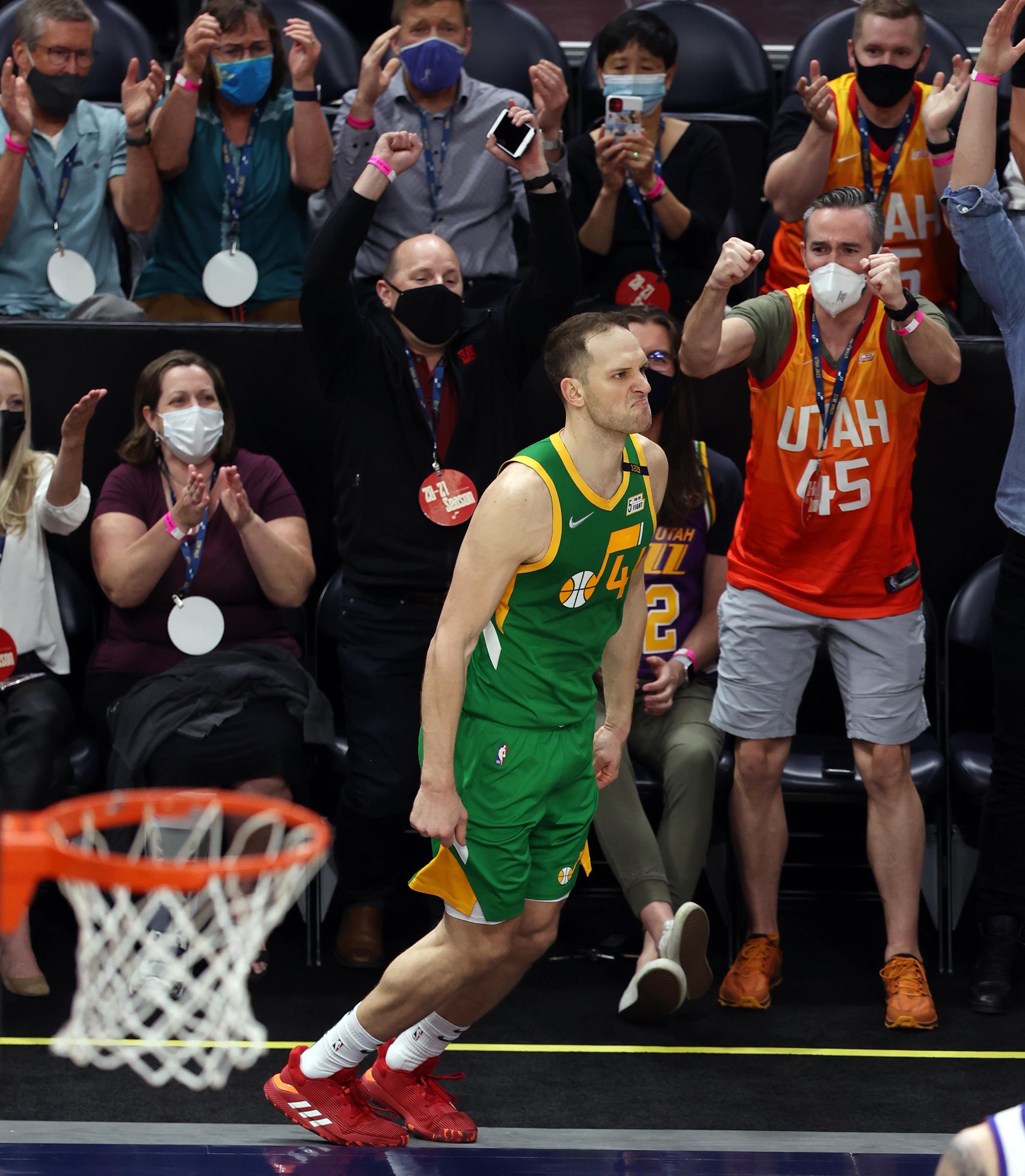 Utah Jazz forward Bojan Bogdanovic (44) makes a face as the crowd erupts after Bogdanovic sank a three point shot as the Utah Jazz and the Denver Nuggets play an NBA basketball game at Vivint Arena in Salt Lake City on Friday, May 7, 2021. Utah won 127-120.
