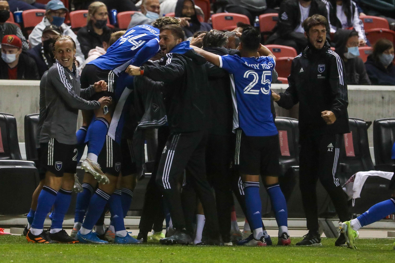 San Jose Earthquake players cheer as Real Salt Lake and San Jose play an MLS game at Rio Tinto Stadium in Sandy on Friday, May 7, 2021.