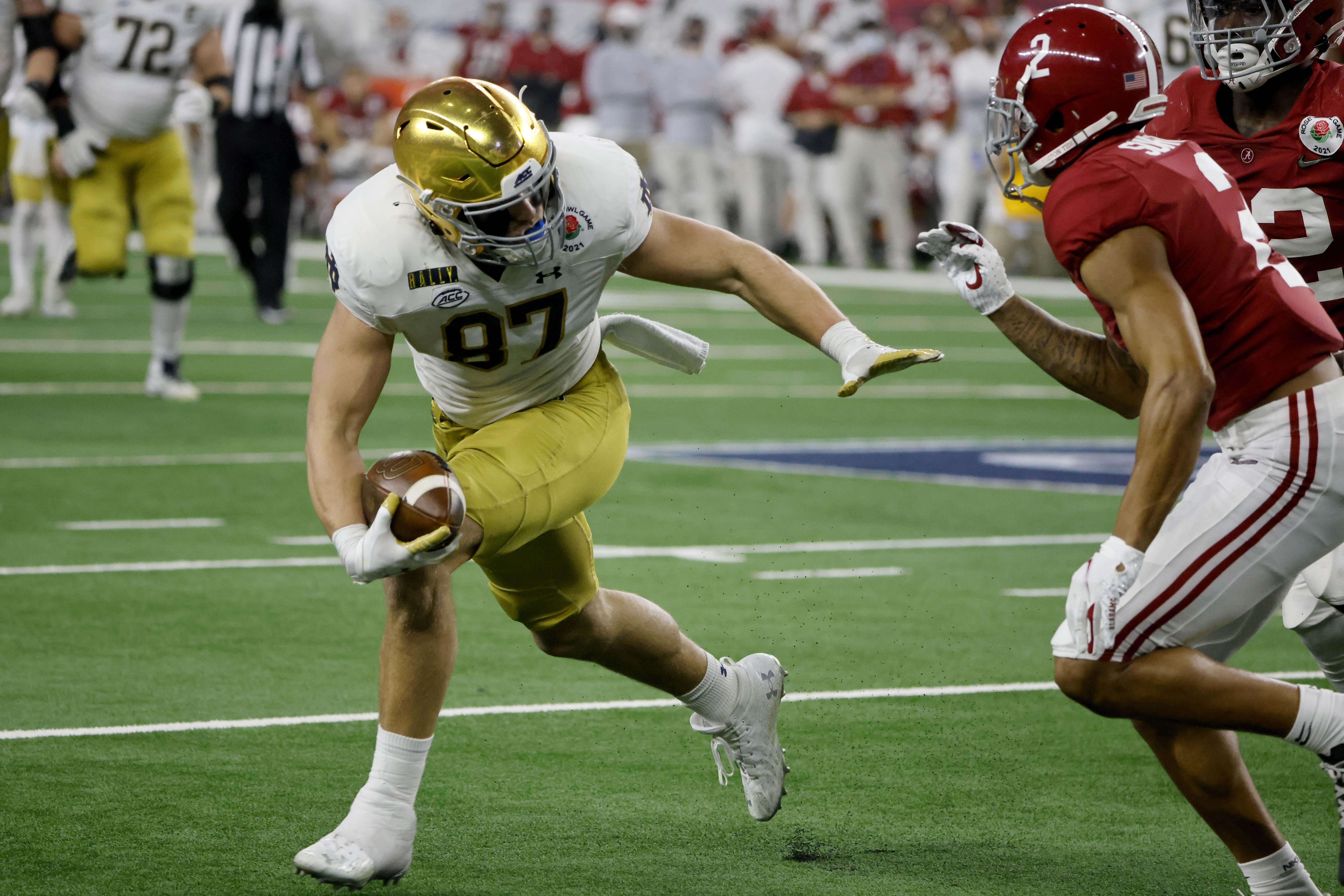 Notre Dame tight end Michael Mayer is coming off a 42-catch debut season in which he tied for the team lead in receptions and made multiple freshman All-America teams.