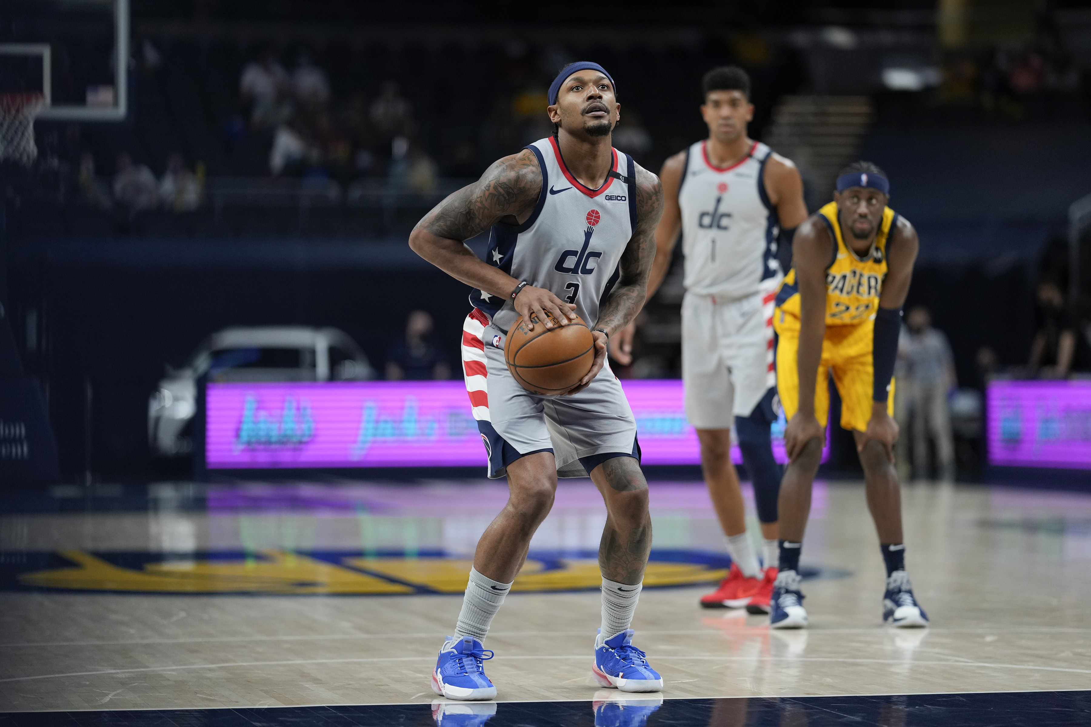 Bradley Beal of the Washington Wizards shoots a free throw during the game against the Indiana Pacers on May 8, 2021 at Bankers Life Fieldhouse in Indianapolis, Indiana.