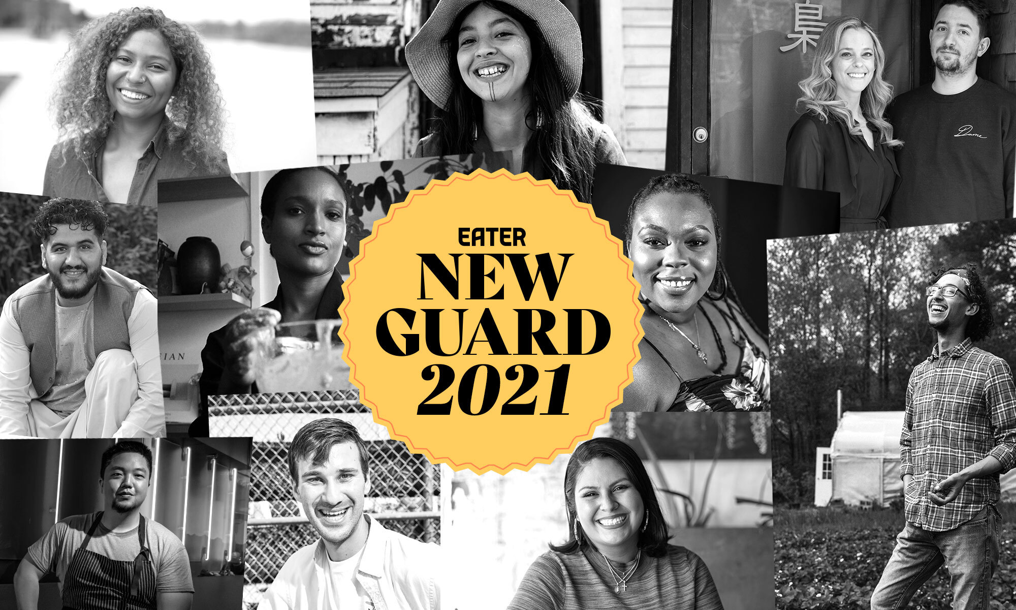 Eater New Guard 2021 badge atop photos of diverse group of adults