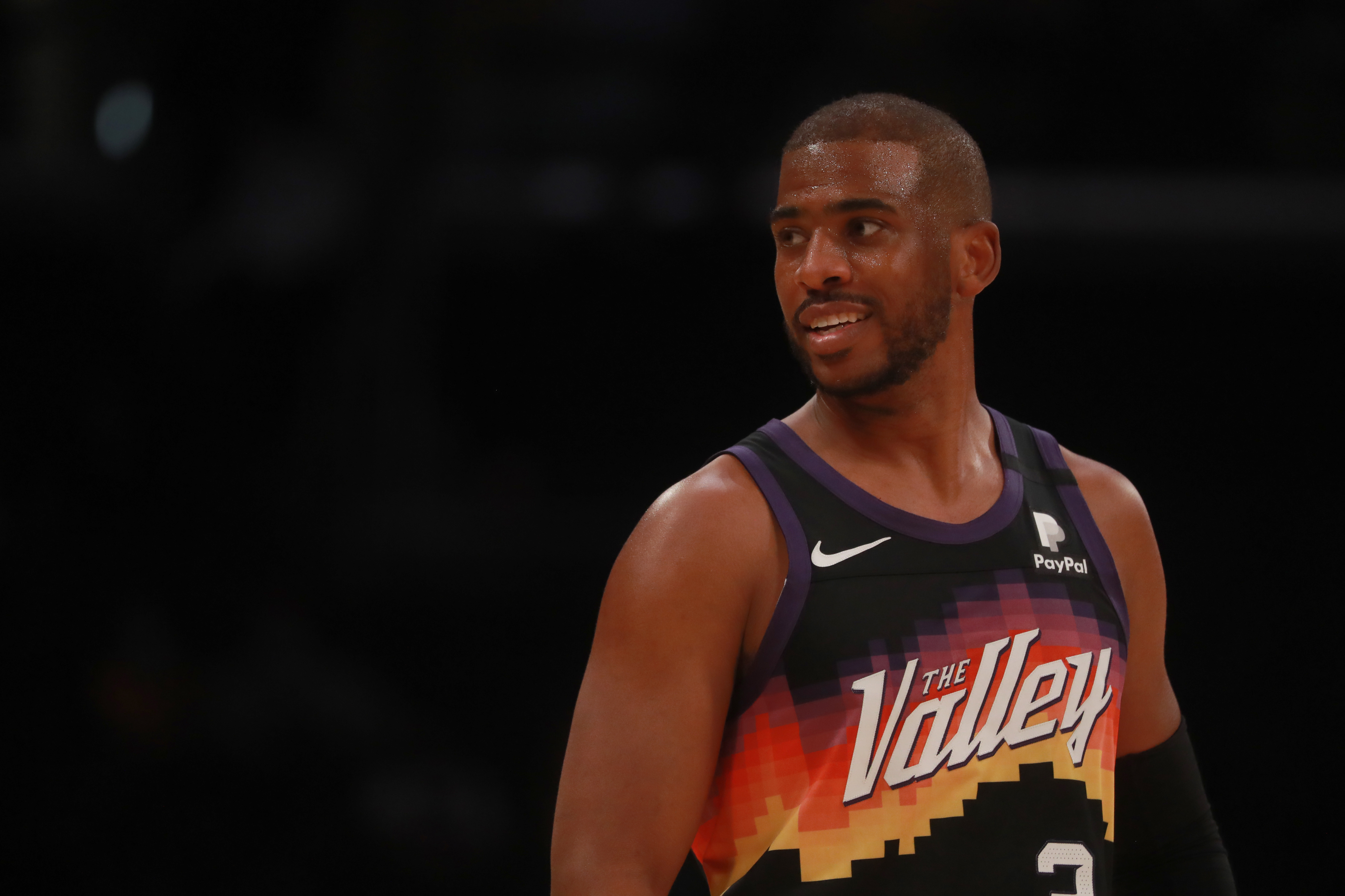 Chris Paul of the Phoenix Suns smiles during the game against the Los Angeles Lakers on May 9, 2021 at STAPLES Center in Los Angeles, California.