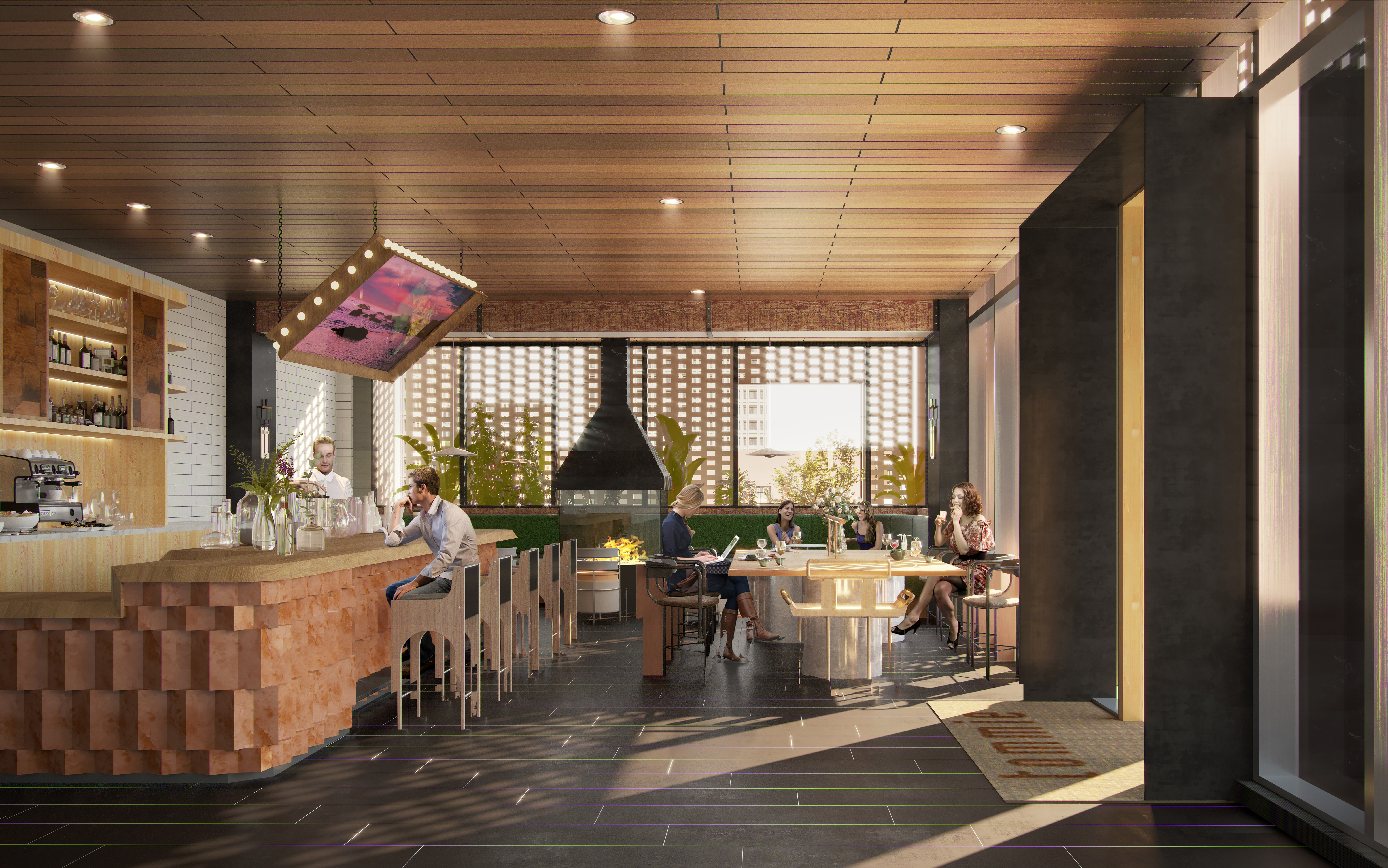 Rendering of Tommie Austin's lobby cafe and bar