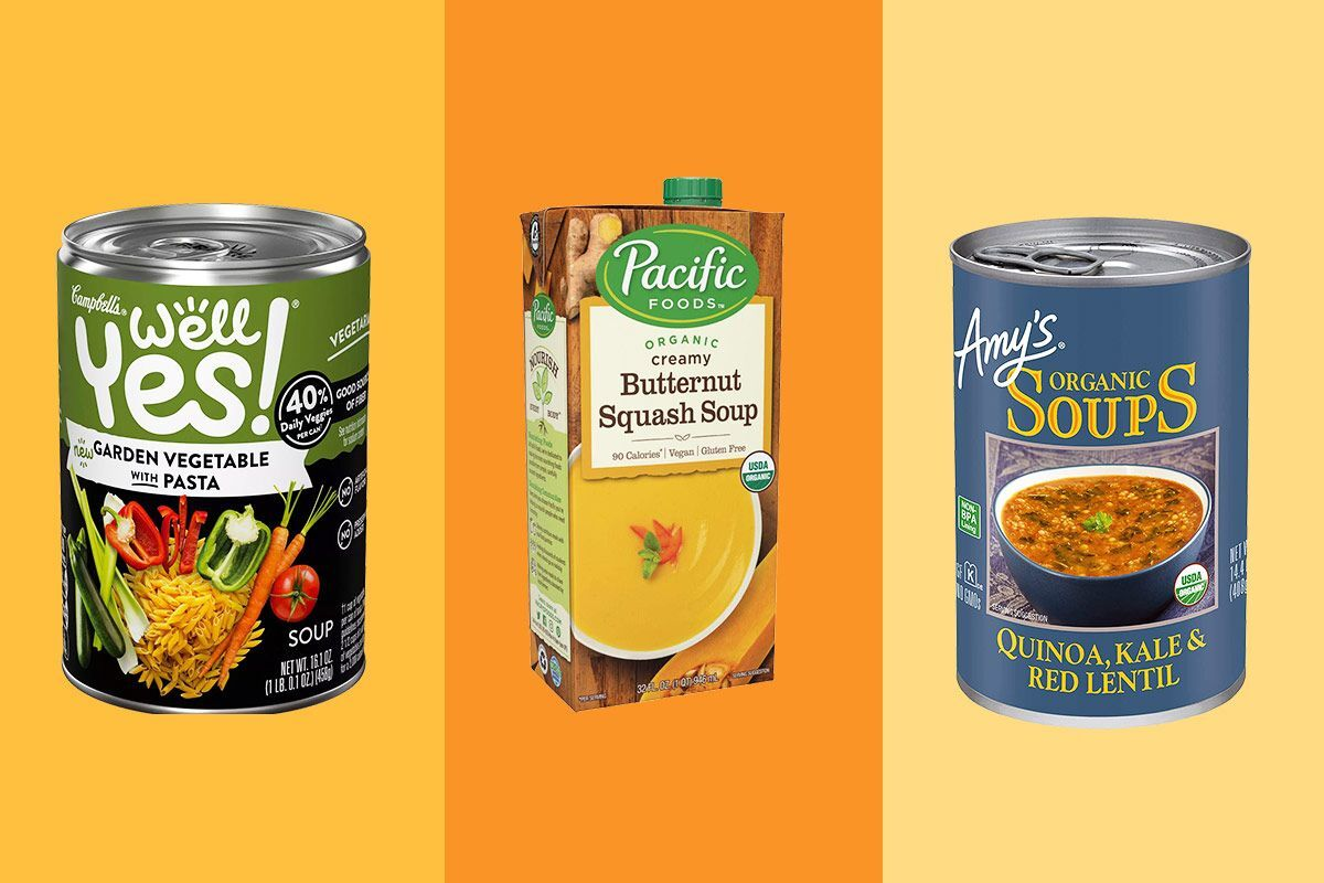 A can of Well Yes soup, a box of butternut squash soup, and a can of amy's soup