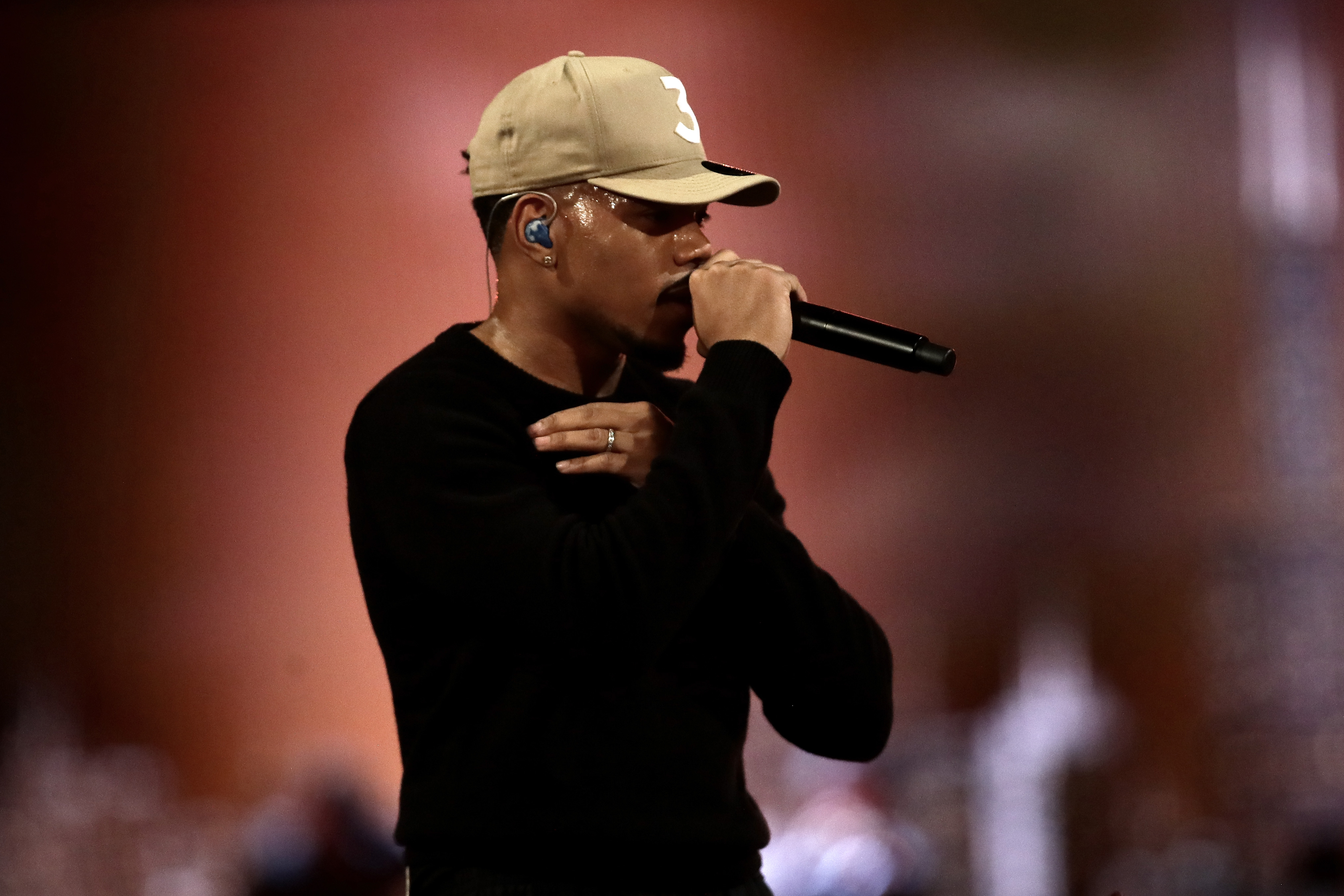 Chance the Rapper performs during halftime of the 69th NBA All-Star Game at the United Center on February 16, 2020.