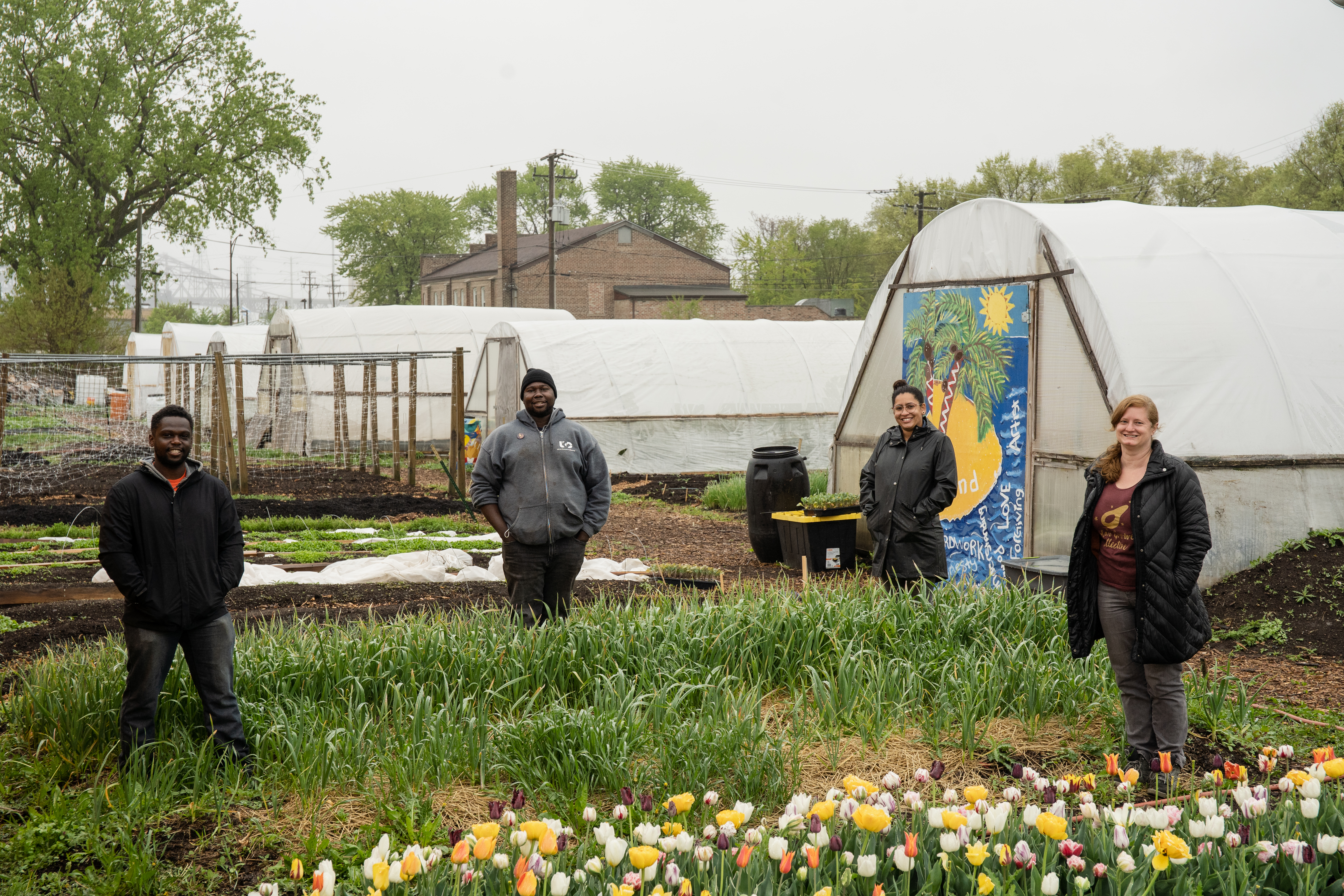 Marshall Mitchell (from left), Malcolm Evans, Siobhan Beal and Laurell Sims of Urban Growers Collective, an organization that creates farms and gardens in the South and West Sides of Chicago, are photographed at their South Chicago neighborhood farm.