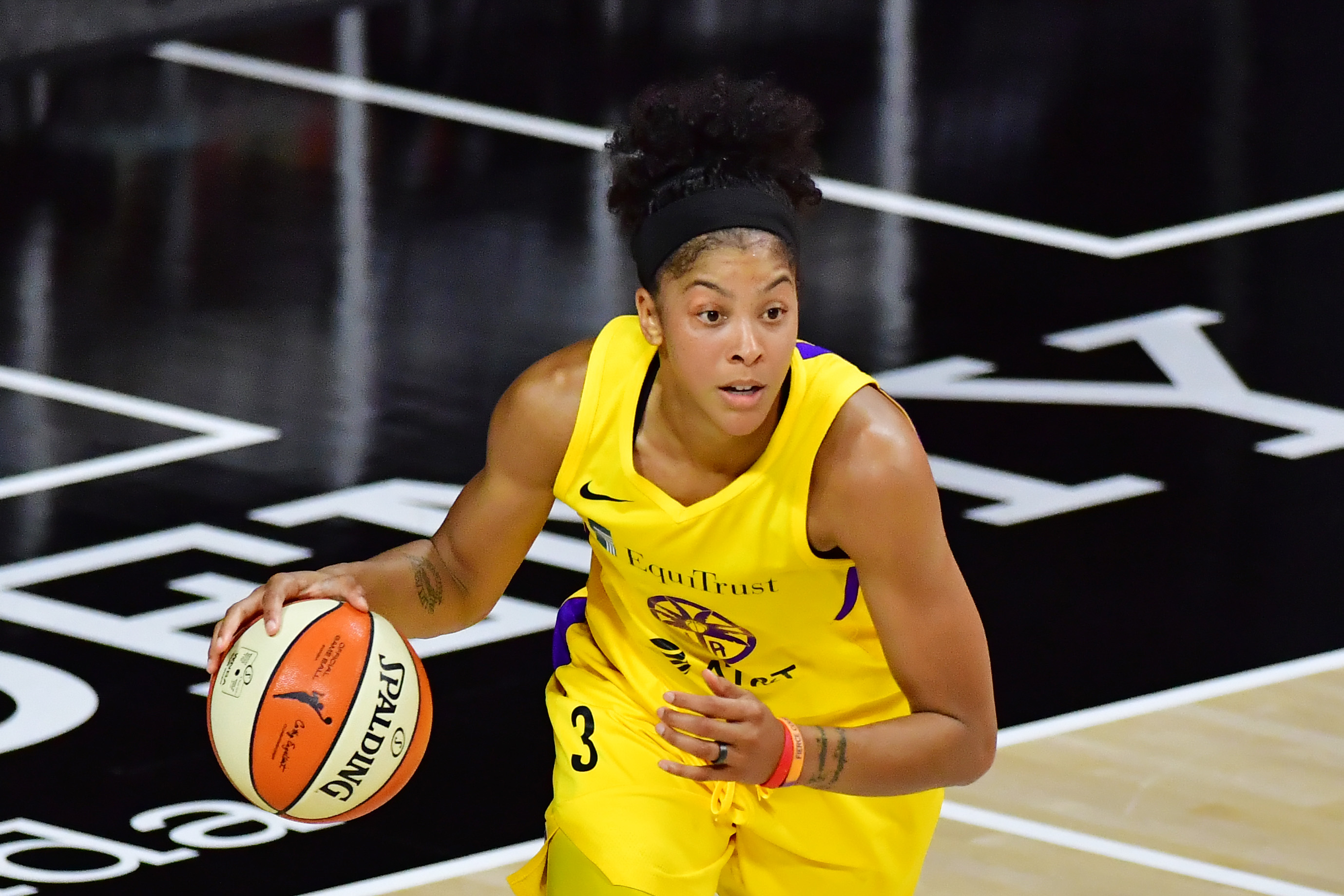 Candace Parker of the Los Angeles Sparks dribbles during the first half of Game One of their Second Round playoff against the Connecticut Sun at Feld Entertainment Center on September 17, 2020 in Palmetto, Florida.