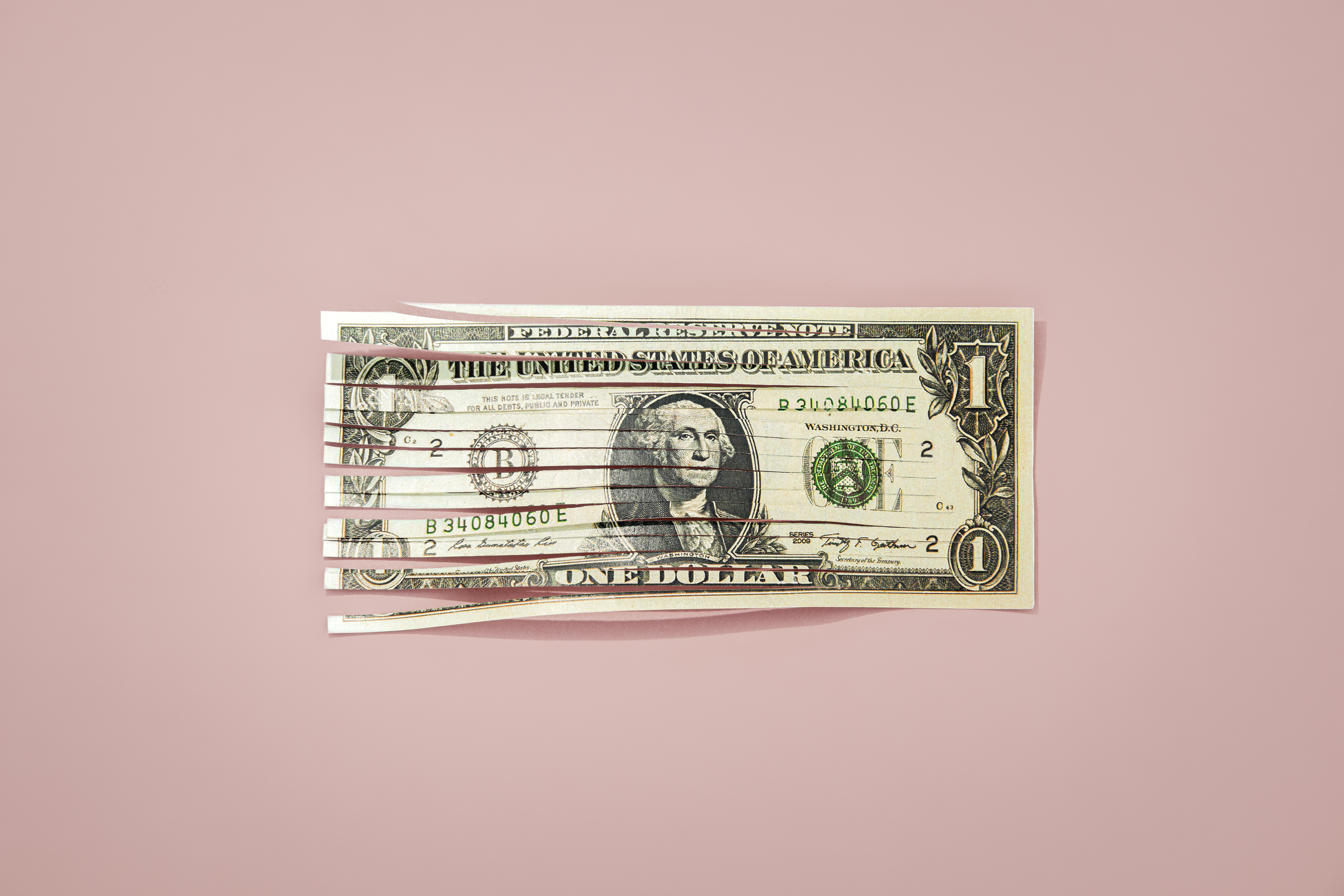 An image of a shredded dollar bill against a pink background.