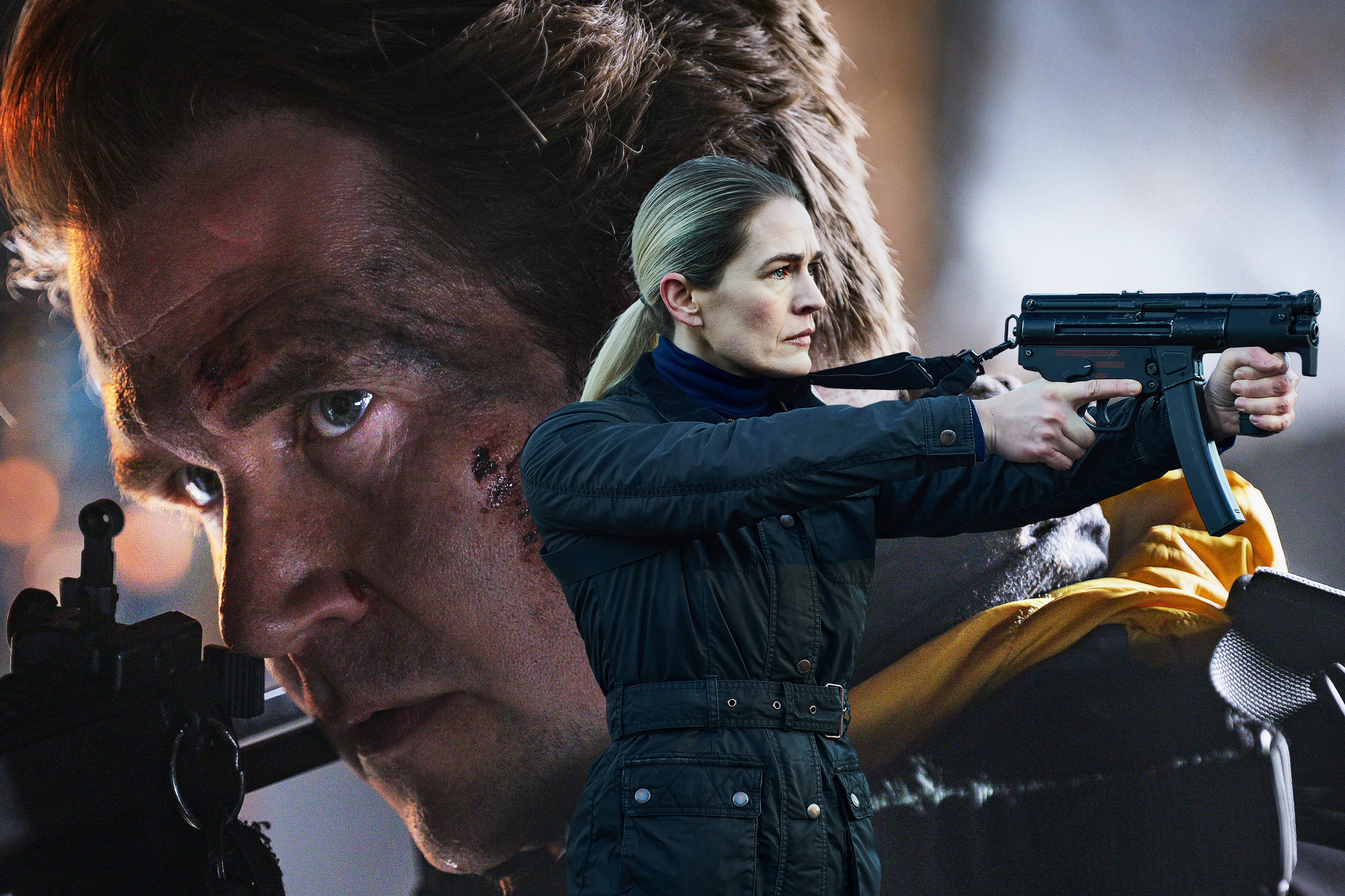 Photo-composition of close up of a man looking through gun slights and a blond woman holding a machine gun
