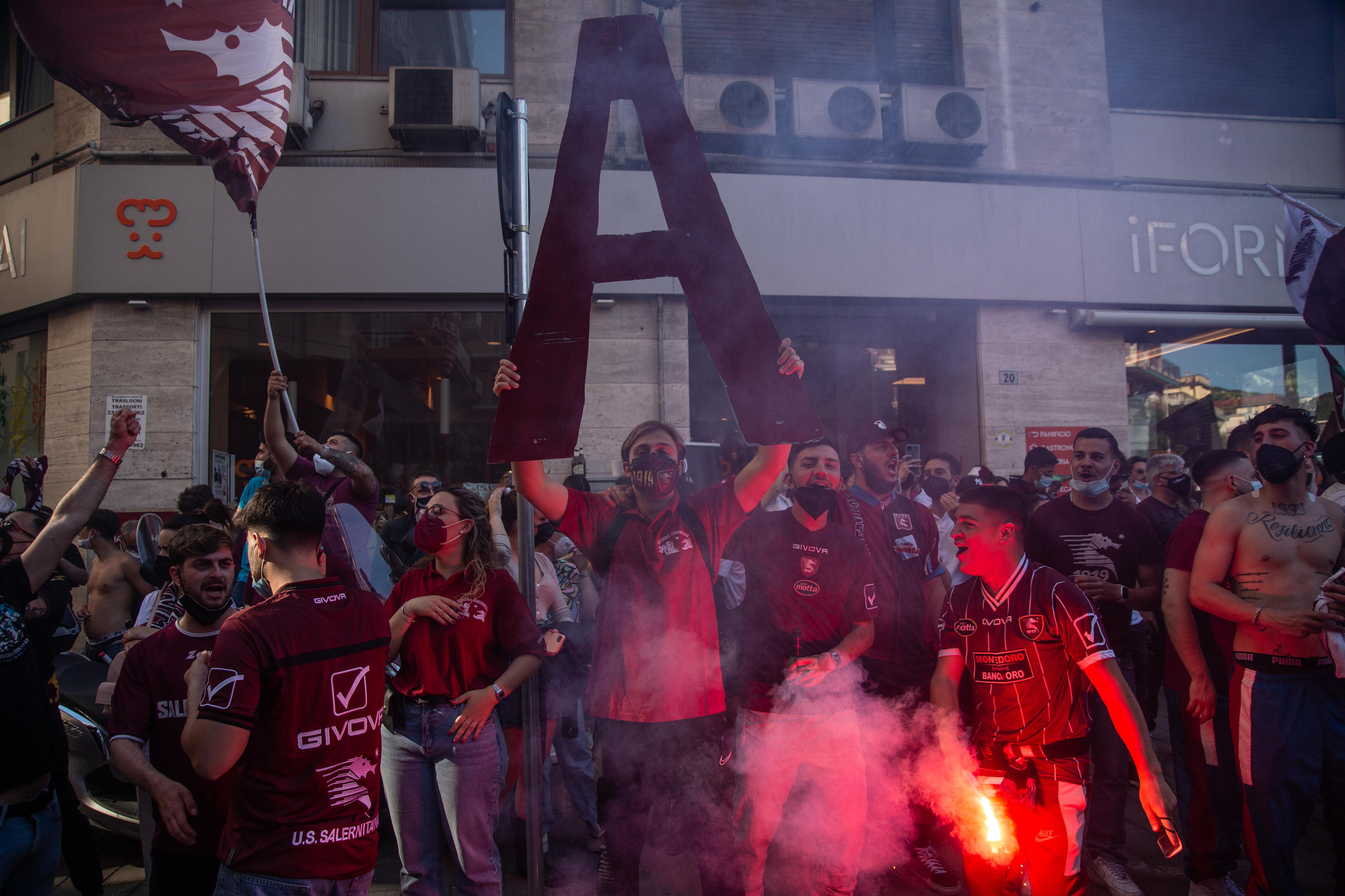 Salernitana Soccer Team Supporters Celebrating First-Class Promotion