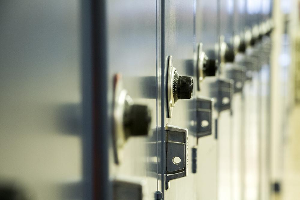 Lockers at Denver's McAuliffe International School.