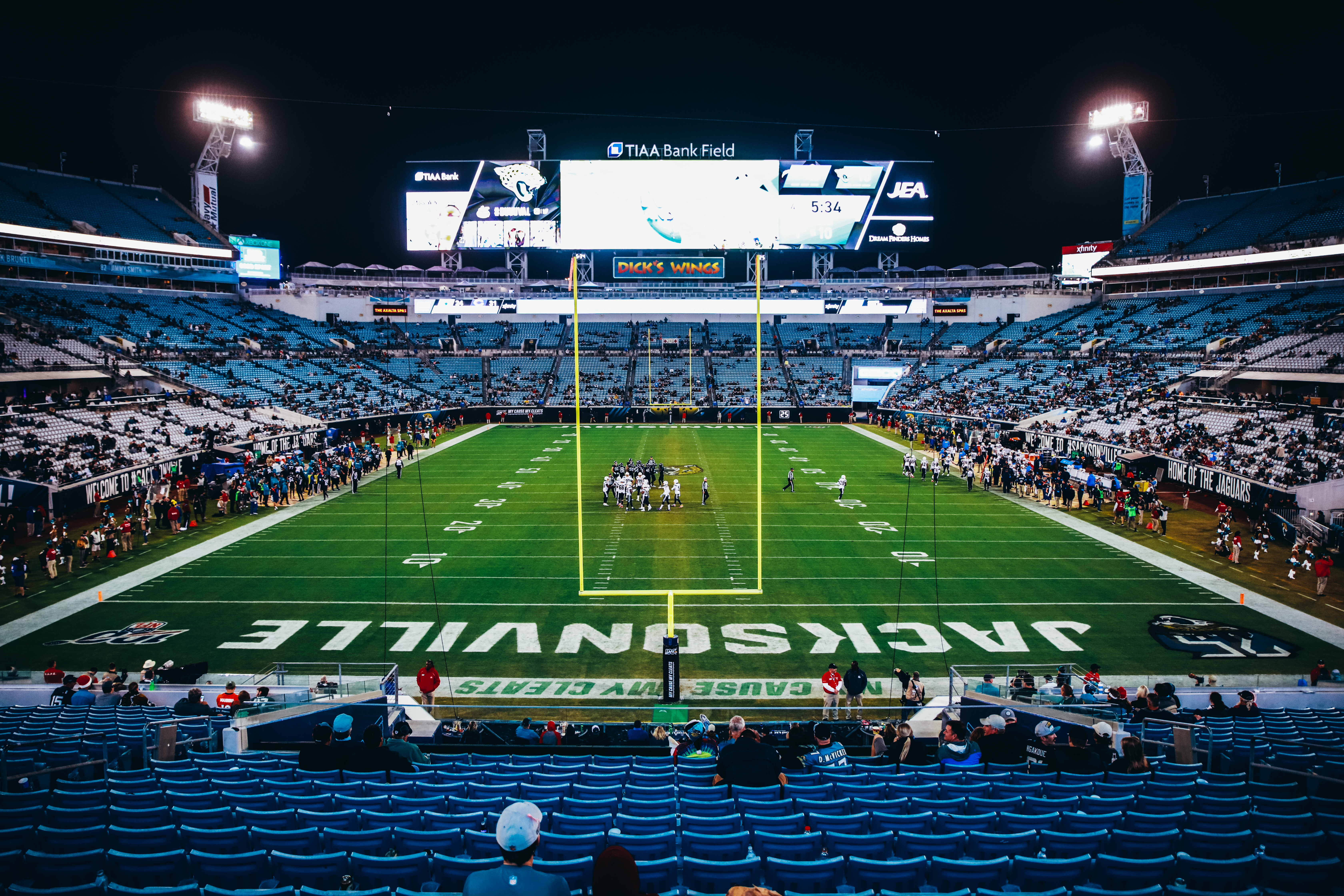 The crowd dwindles as the Jacksonville Jaguars take on the Los Angeles Chargers in the fourth quarter at TIAA Bank Field on December 08, 2019 in Jacksonville, Florida.