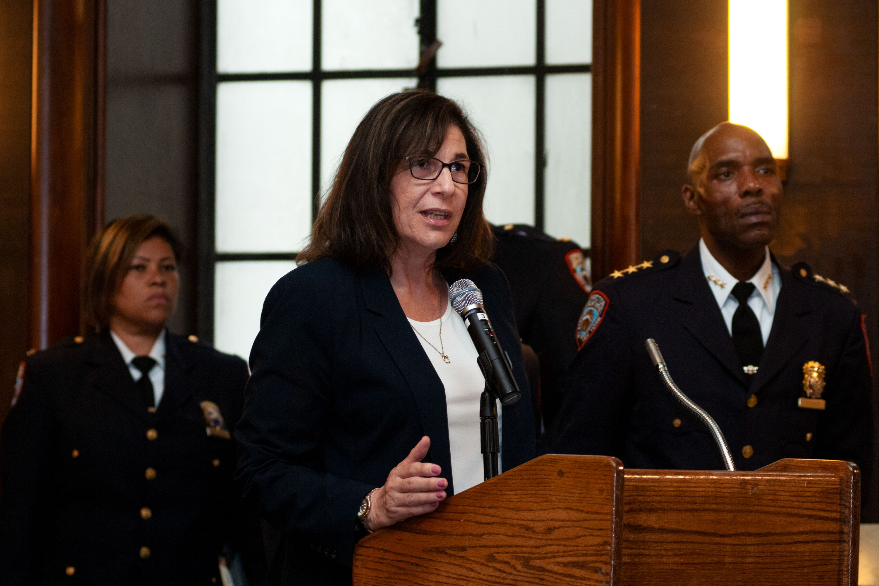 Outgoing Department of Correction Commissioner Cynthia Brann speaks during board meeting in lower Manhattan, July 9, 2019.