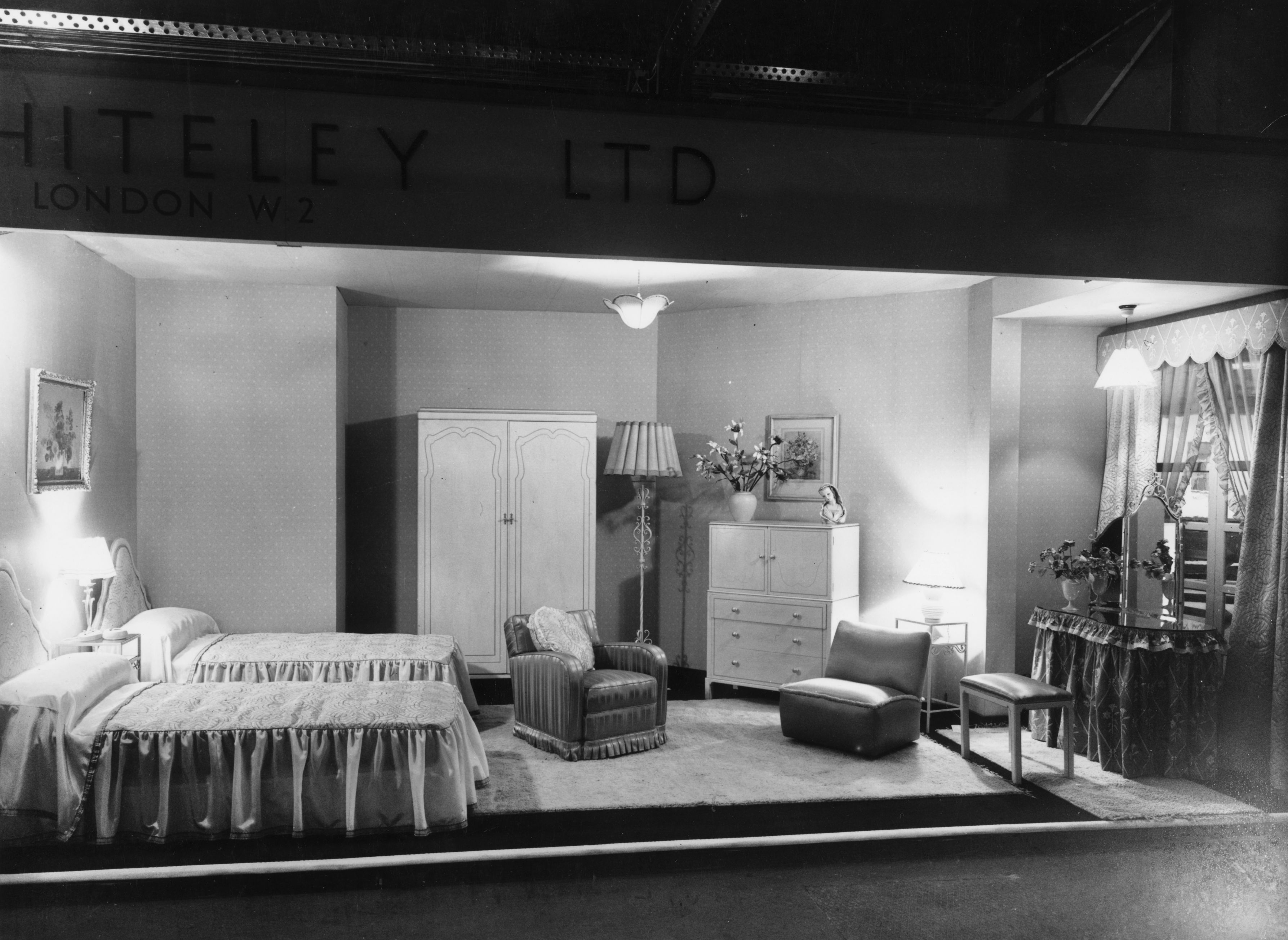 "A furniture showroom circa 1930 showing an ""ideal bedroom."""