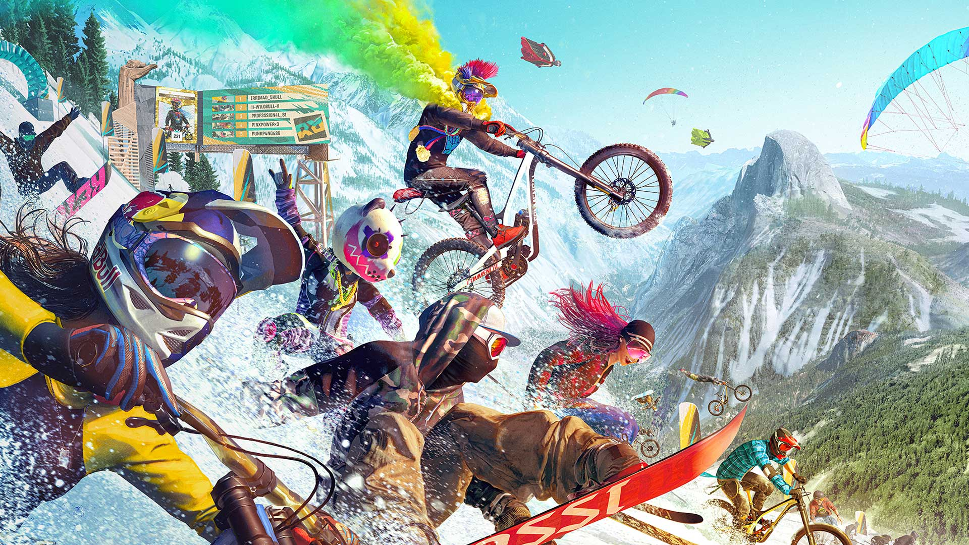 Artwork of bikers, snowboarders, and wingsuit riders from Ubisoft's Riders Republic