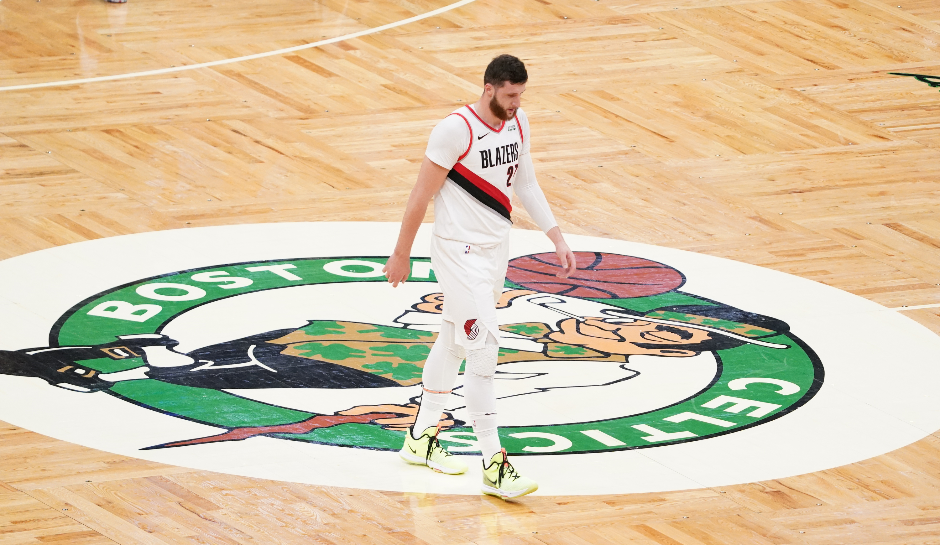 Portland Trail Blazers center Jusuf Nurkic returns up court as they take on the Boston Celtics in the second quarter at TD Garden.
