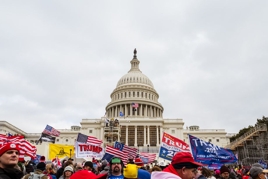 A large group of pro-Trump protesters raise signs and flags on the grounds of the Capitol Building on January 6, 2021 in Washington, DC.