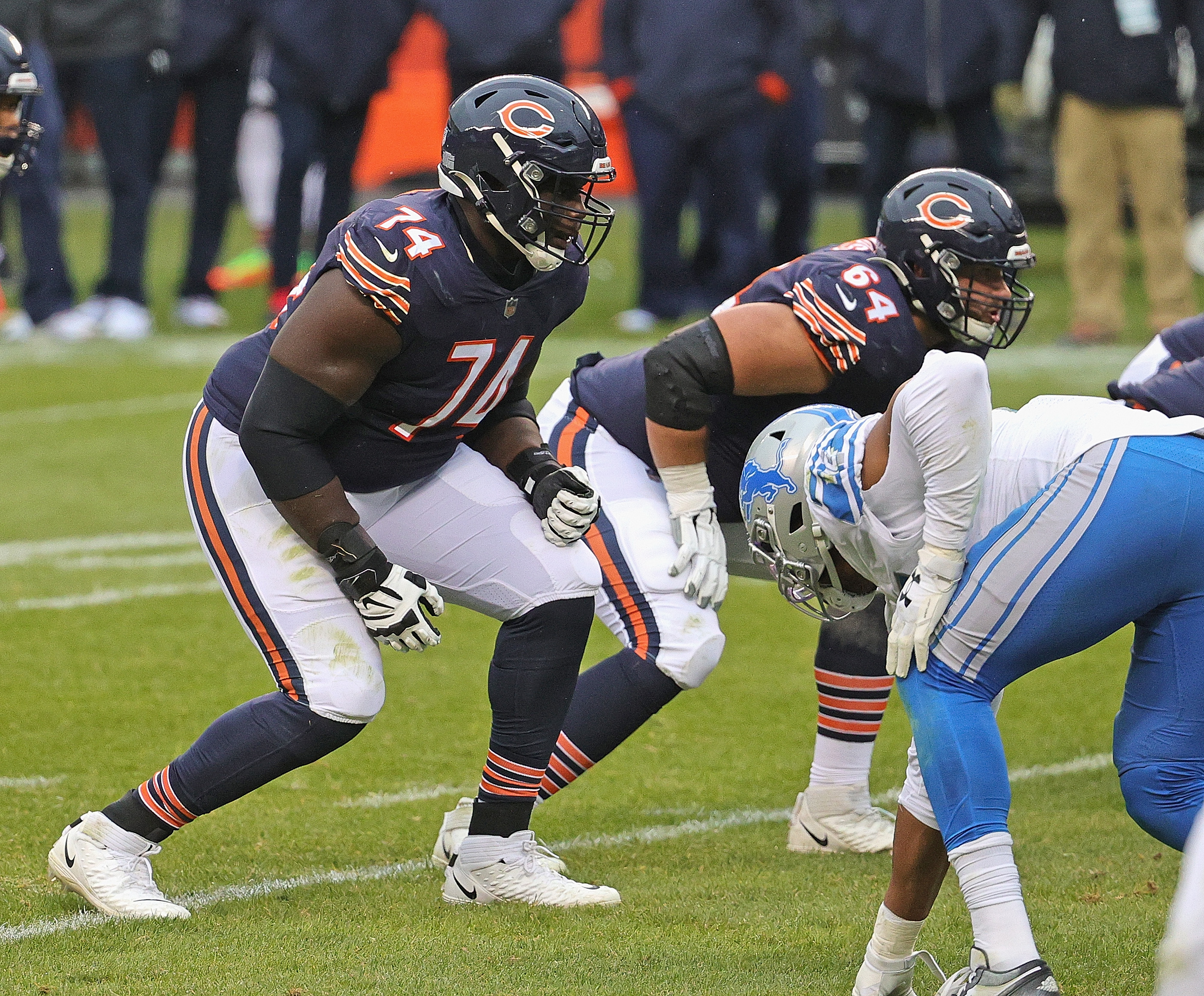 Germain Ifedi (74) started all 17 games for the Bears last season —10 at right guard and seven (including the postseason) at right tackle.