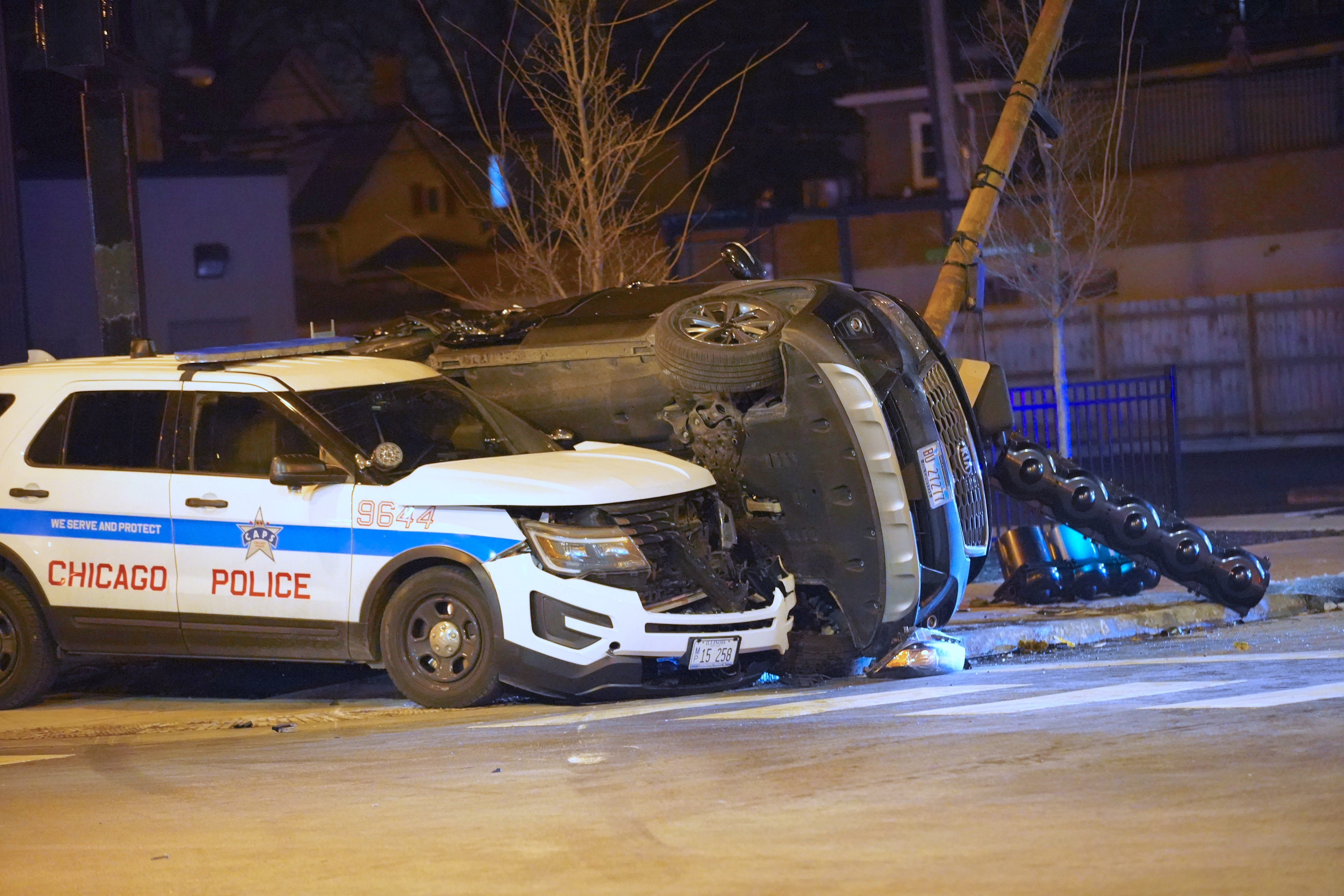 The wreckage of a crash Dec. 18, 2019, between a Chicago police cruiser and a Kia sedan at Lawrence and Central avenues in Jefferson Park. A confidential report showed that 66% of police chases in 2019 ended in crashes.