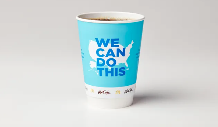 McDonald's has redesigned its coffee cups to spread COVID-19 vaccine awareness.