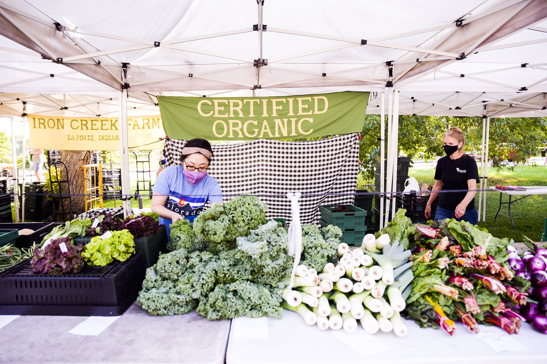 A table of fresh veggies under a tent with a person tending to them.