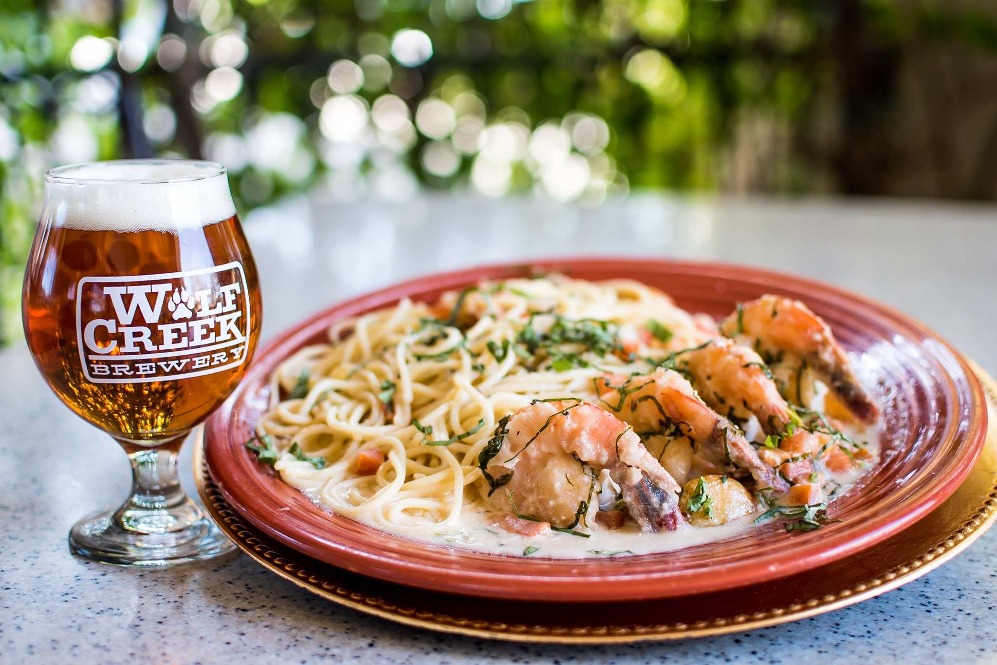 Seafood pasta and beer at Wolf Creek Restaurant.