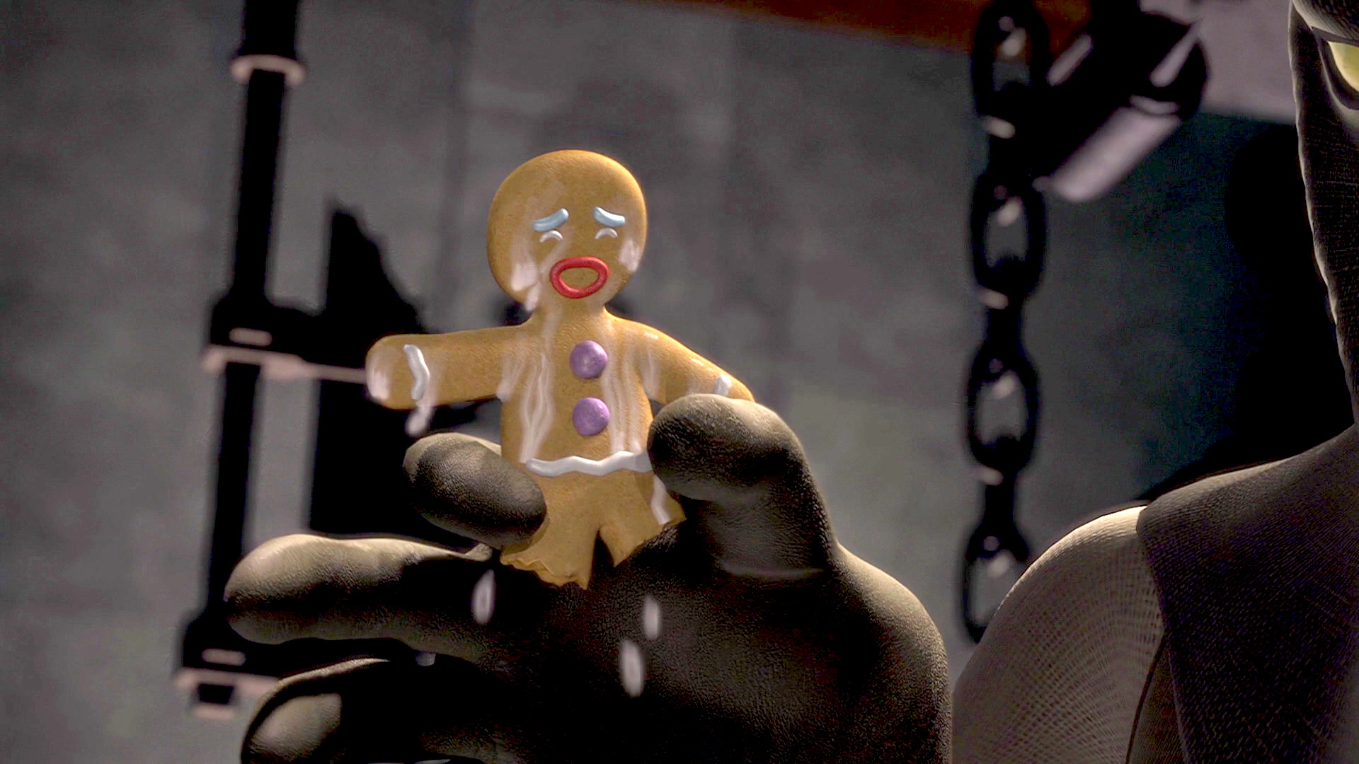 Gingerbread Man gets dunked in milk in Shrek 1
