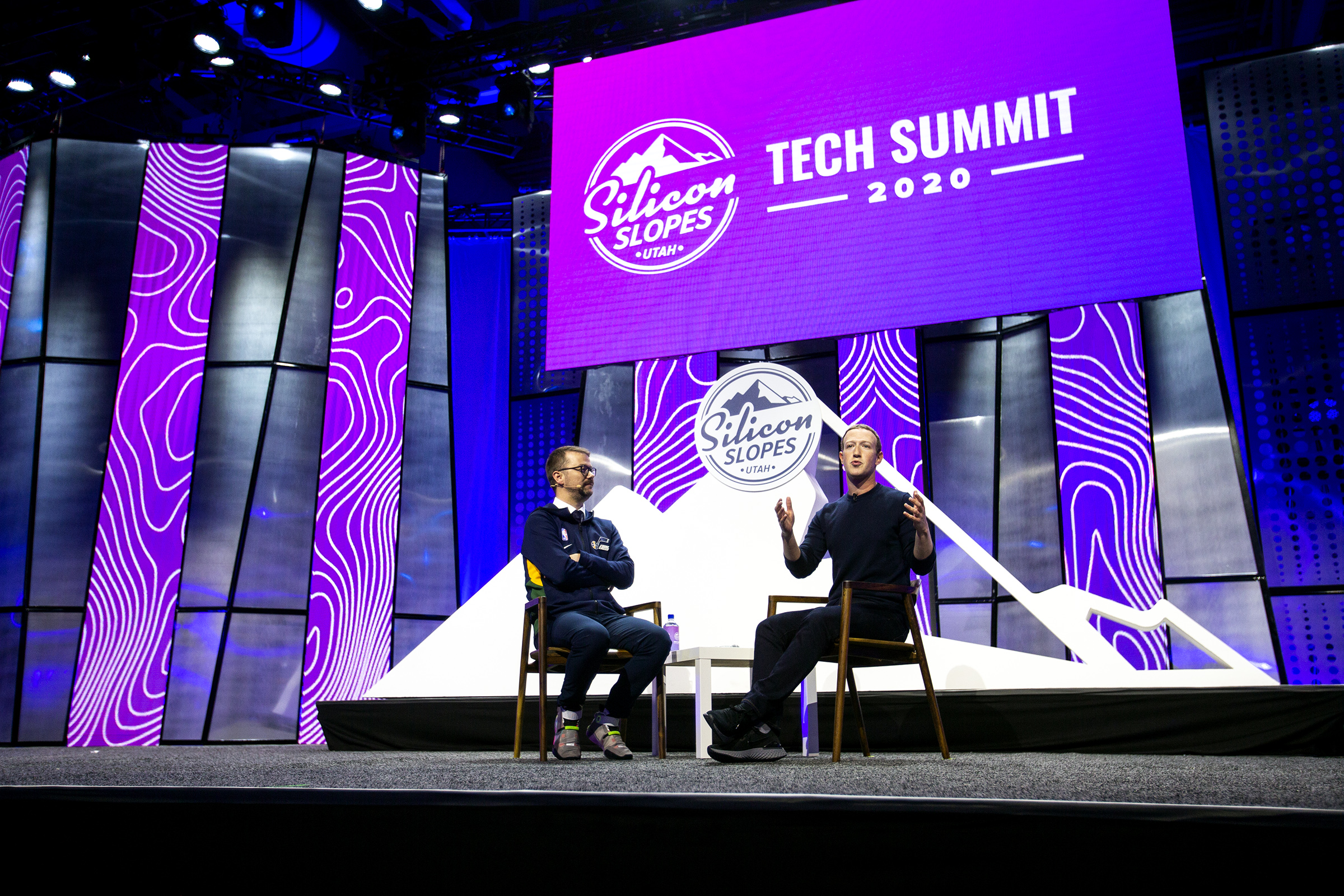 Silicon Slopes Executive Director Clint Betts sits down with Mark Zuckerberg, founder and CEO of Facebook, at the Silicon Slopes Tech Summit at the Salt Palace Convention Center in Salt Lake City on Friday, Jan. 31, 2020.