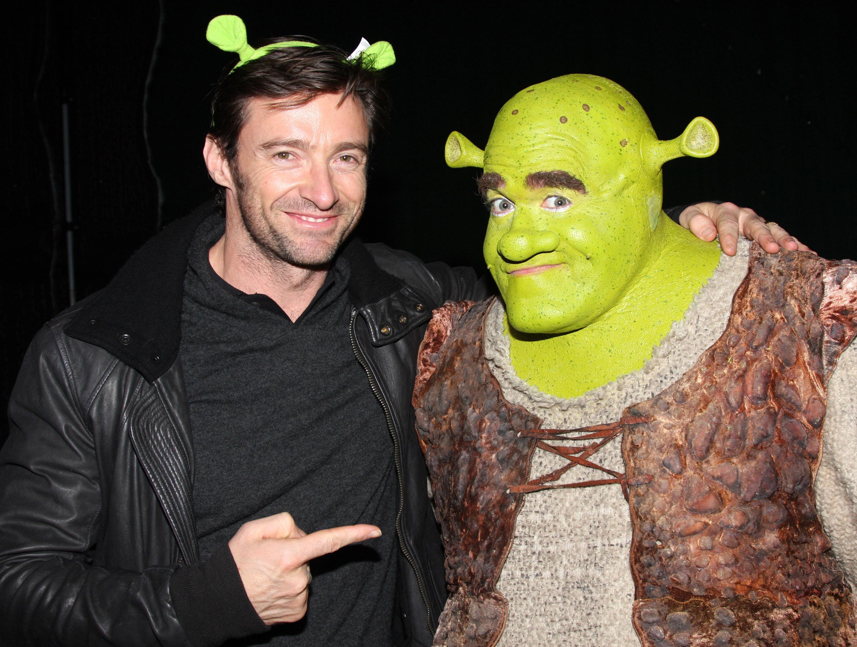"Hugh Jackman Visits ""Shrek"" On Broadway"
