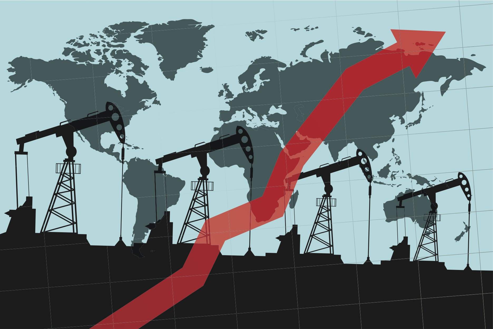 An illustration of oil pumps superimposed on a world map and covered with an arrow representing profits pointing up and to the right.