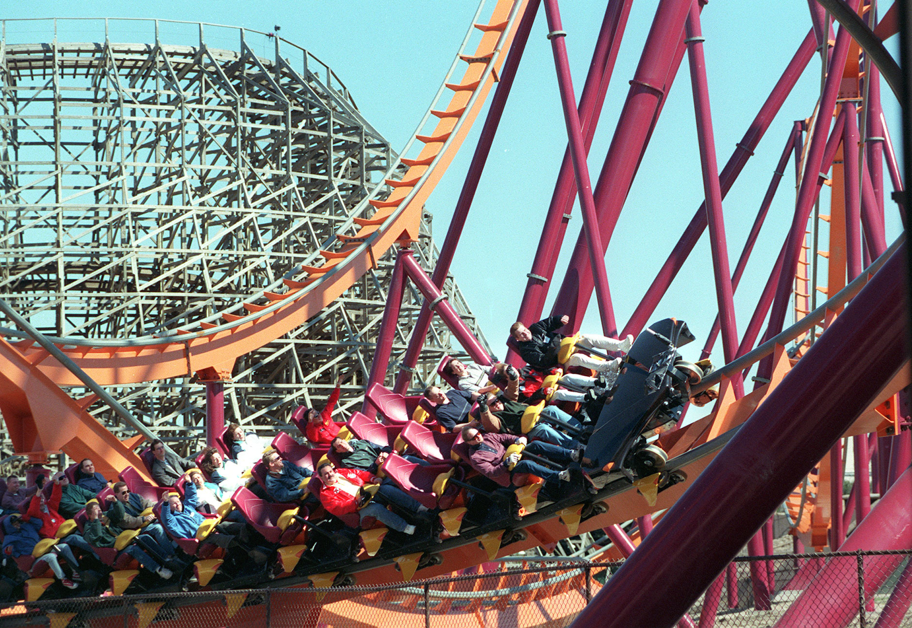 The Raging Bull rollercoaster when it first opened at Six Flags Great America, Gurnee, in 1999.
