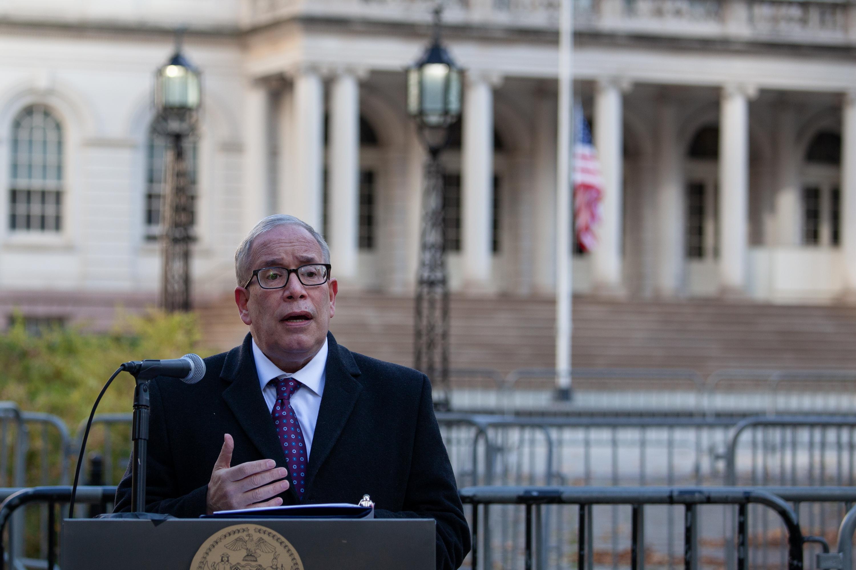 Comptroller Scott Stringer speaks outside of City Hall, Nov. 18, 2020.