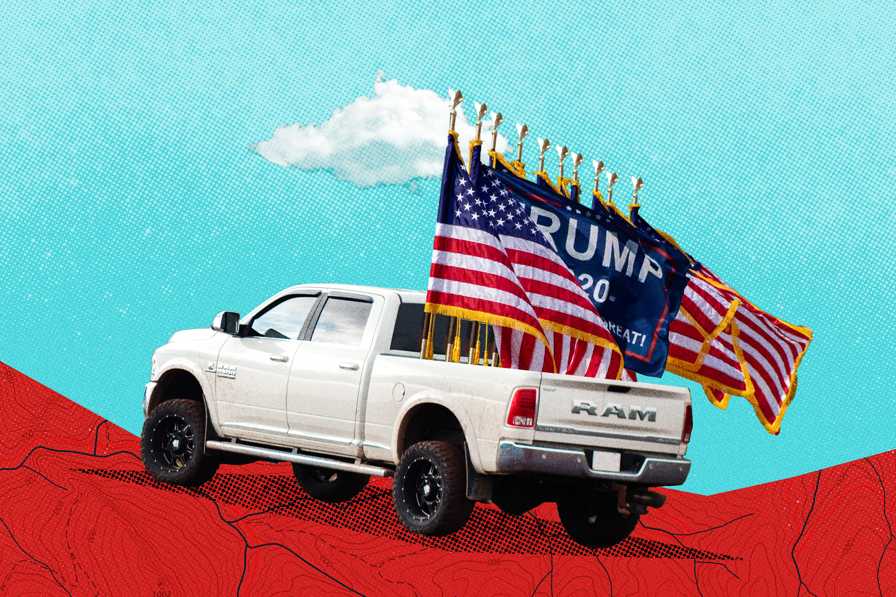 A white truck has American flags and Trump 2020 flags in the tailgate.