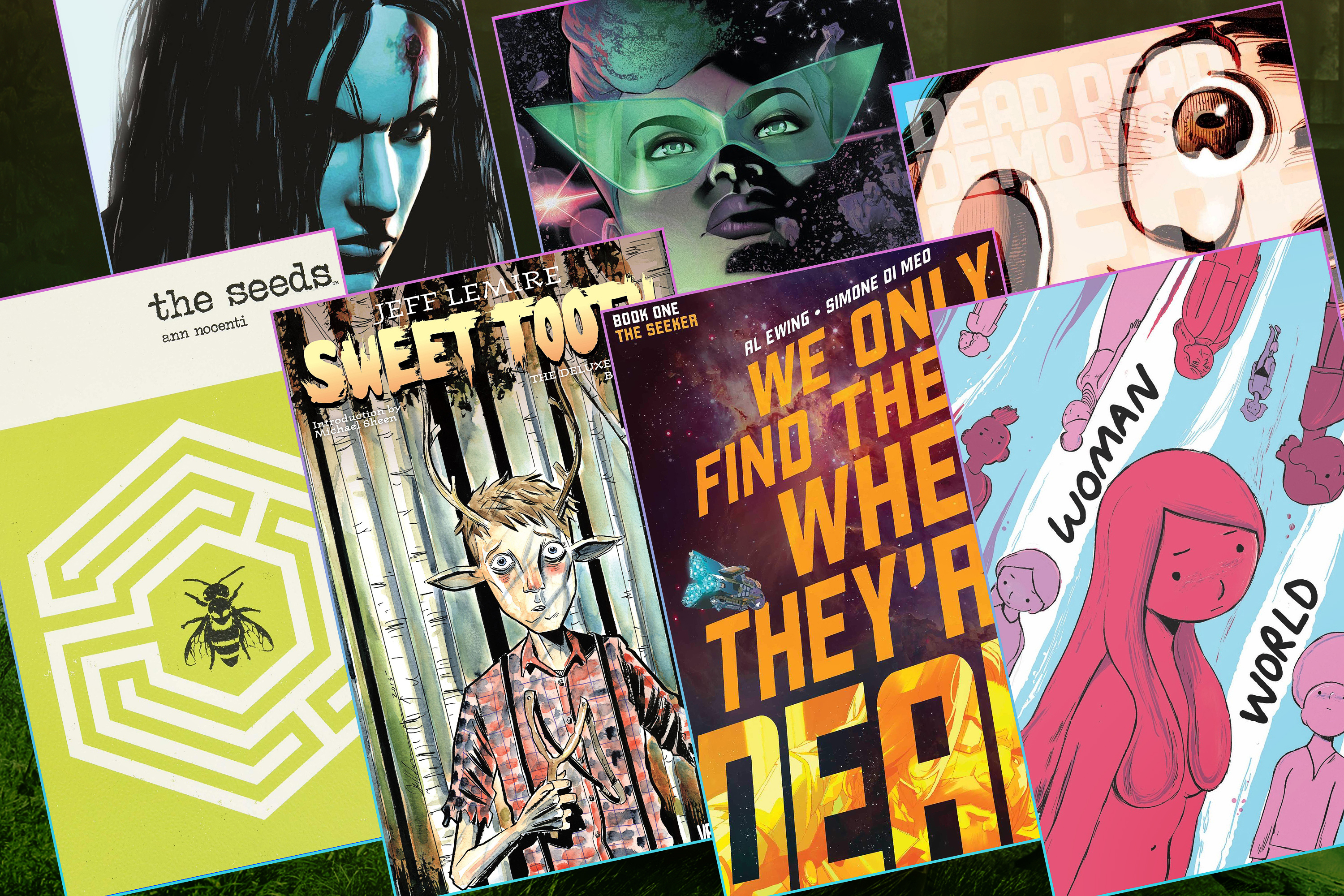 Illustration of a grid of seven different sci-fi comic book covers