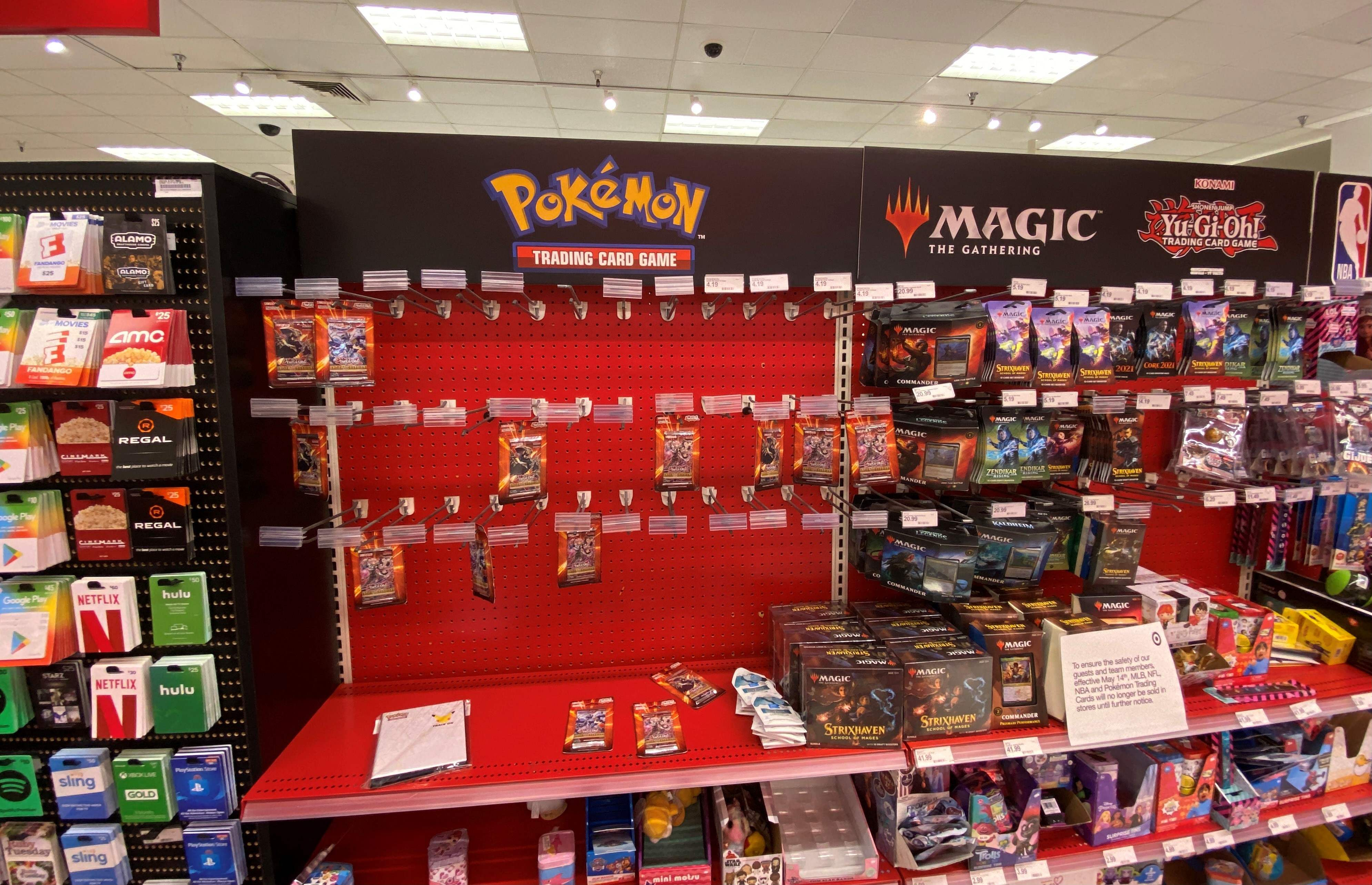 A sign warning customers that Pokemon trading cards will no longer be sold until further notice is displayed at a local Target store in Los Angeles