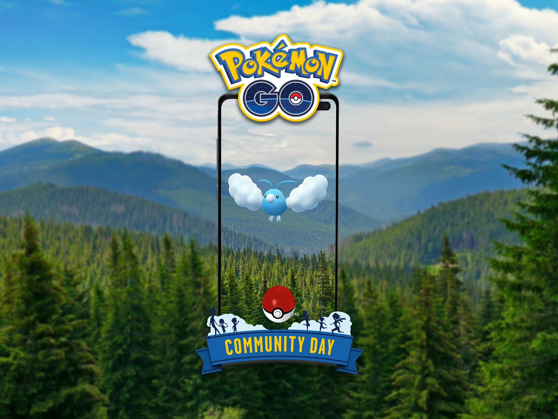 Swablu flies above a forest, framed by a smartphone