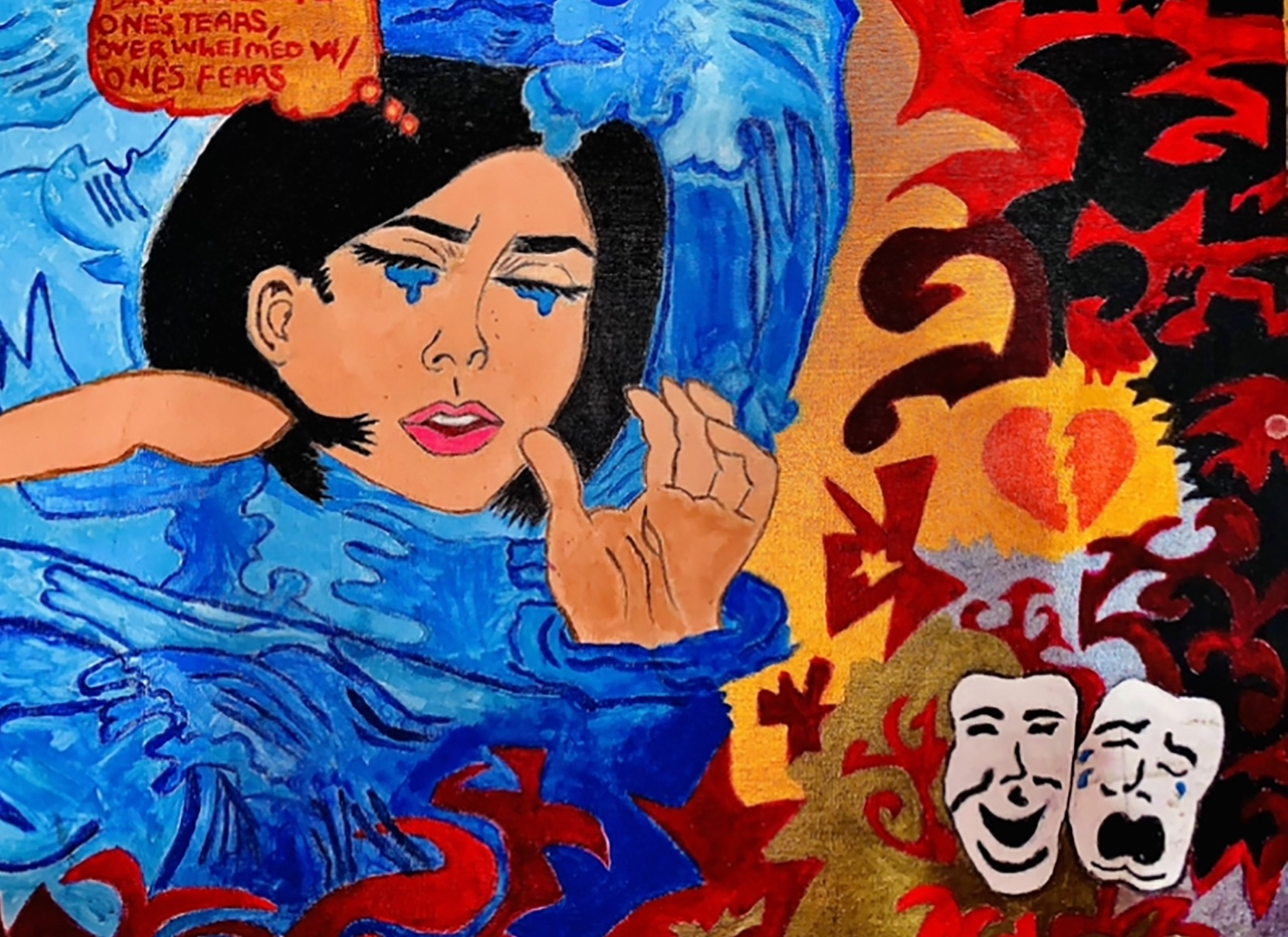Artwork of a girl with black hair crying amid water, masks, and a broken heart.