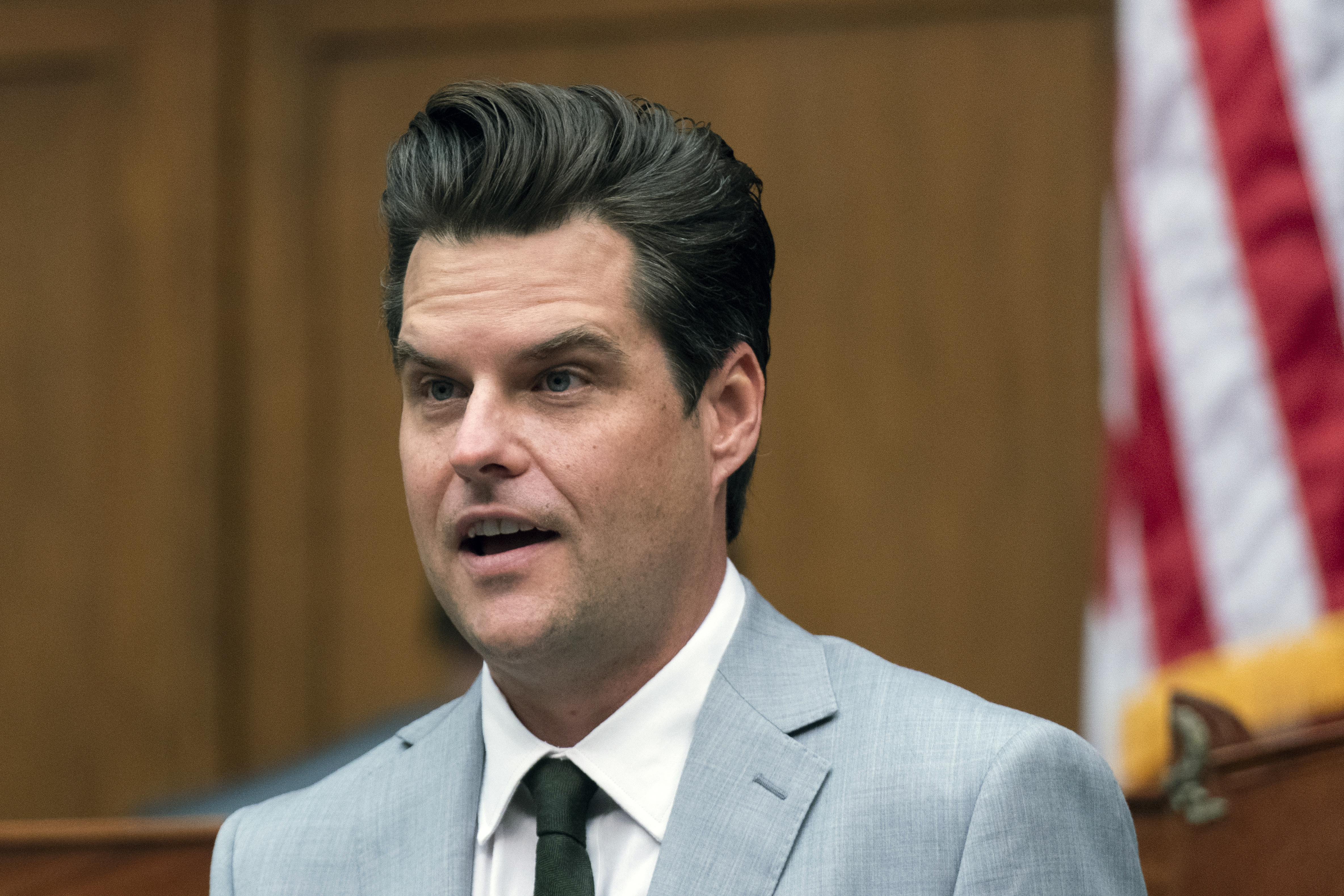 In this April 14, 2021 file photo, Rep. Matt Gaetz, R-Fla., questions witness during a House Armed Services Committee hearing on Capitol Hill in Washington.